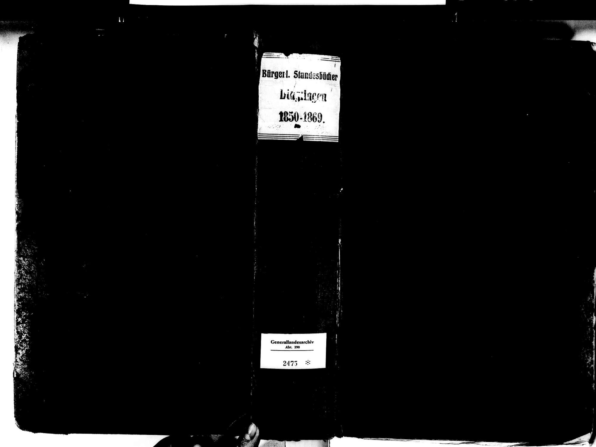 Dinglingen aufgegangen in Lahr im Schwarzwald OG; Evangelische Gemeinde: Standesbuch 1850-1869 Dinglingen aufgegangen in Lahr im Schwarzwald OG; Katholische Gemeinde: Standesbuch 1863-1869, Bild 2