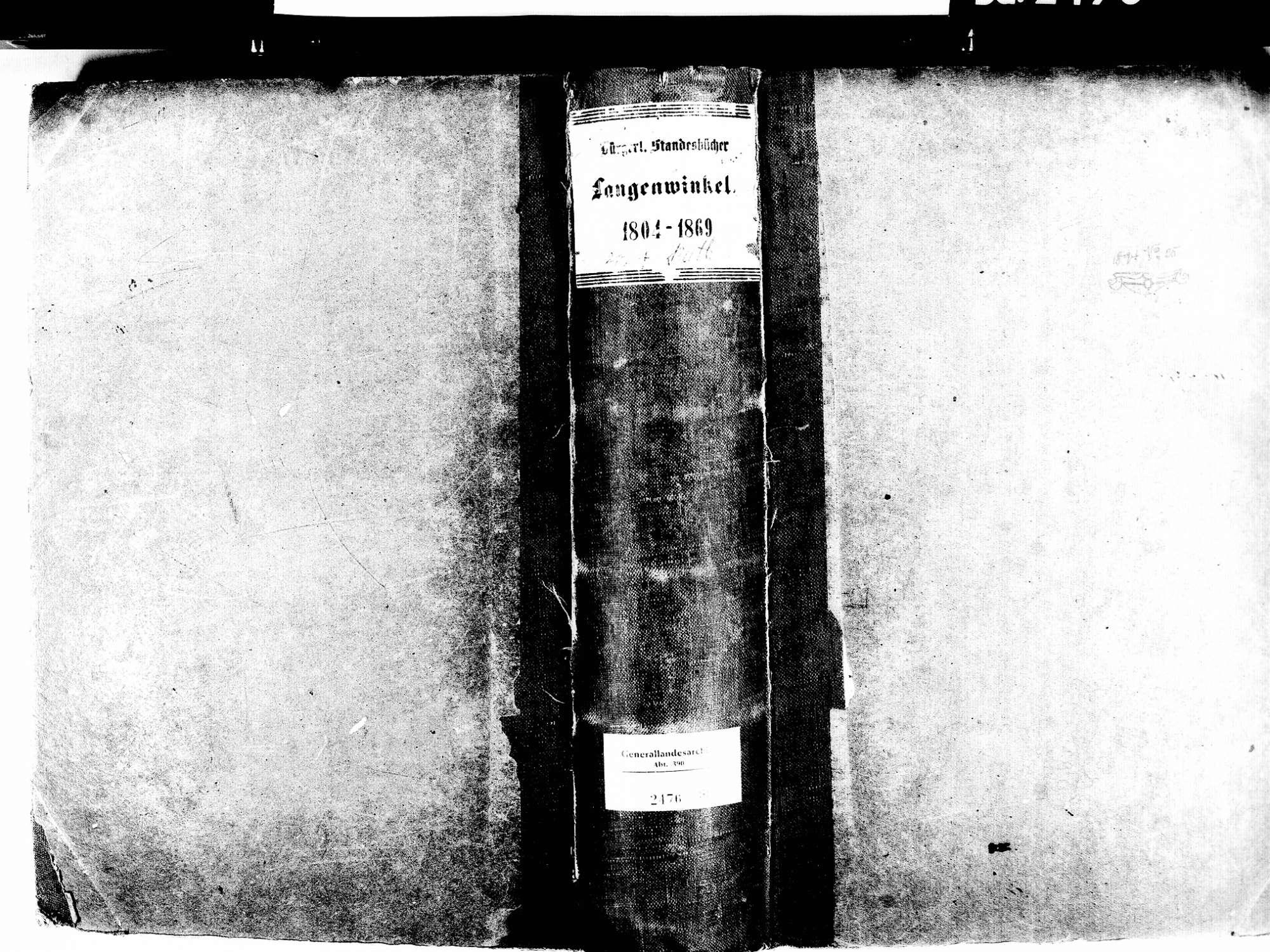 Langenwinkel, Lahr im Schwarzwald OG; Evangelische Gemeinde: Standesbuch 1804-1869 Langenwinkel, Lahr im Schwarzwald OG; Katholische Gemeinde: Standesbuch 1804-1869, Bild 1