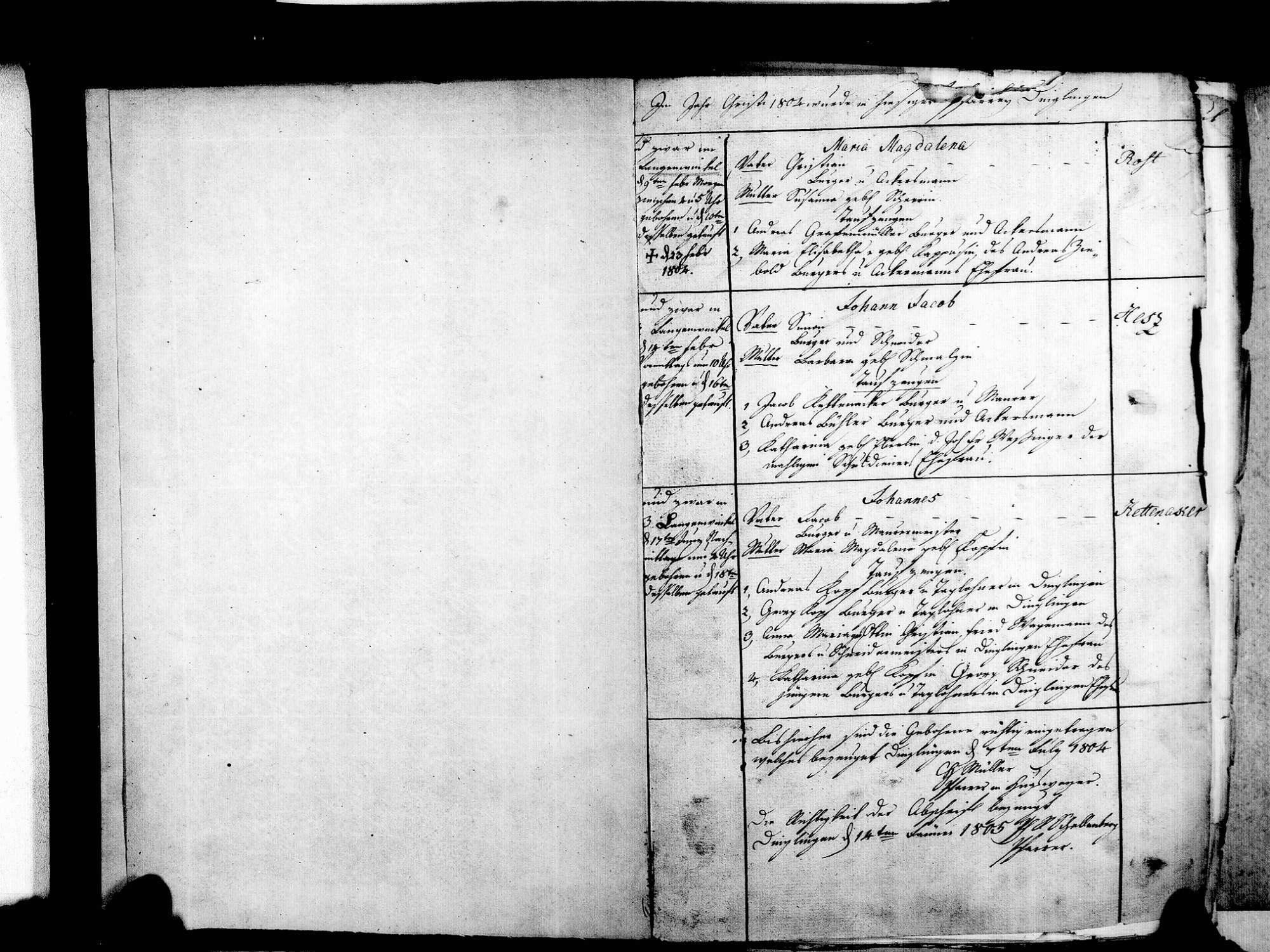 Langenwinkel, Lahr im Schwarzwald OG; Evangelische Gemeinde: Standesbuch 1804-1869 Langenwinkel, Lahr im Schwarzwald OG; Katholische Gemeinde: Standesbuch 1804-1869, Bild 3