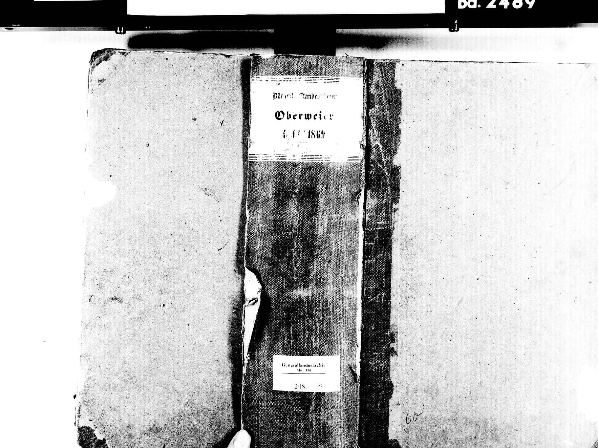 Oberweier, Friesenheim OG; Evangelische Gemeinde: Standesbuch 1842-1869 Oberweier, Friesenheim OG; Katholische Gemeinde: Standesbuch 1842-1869, Bild 1