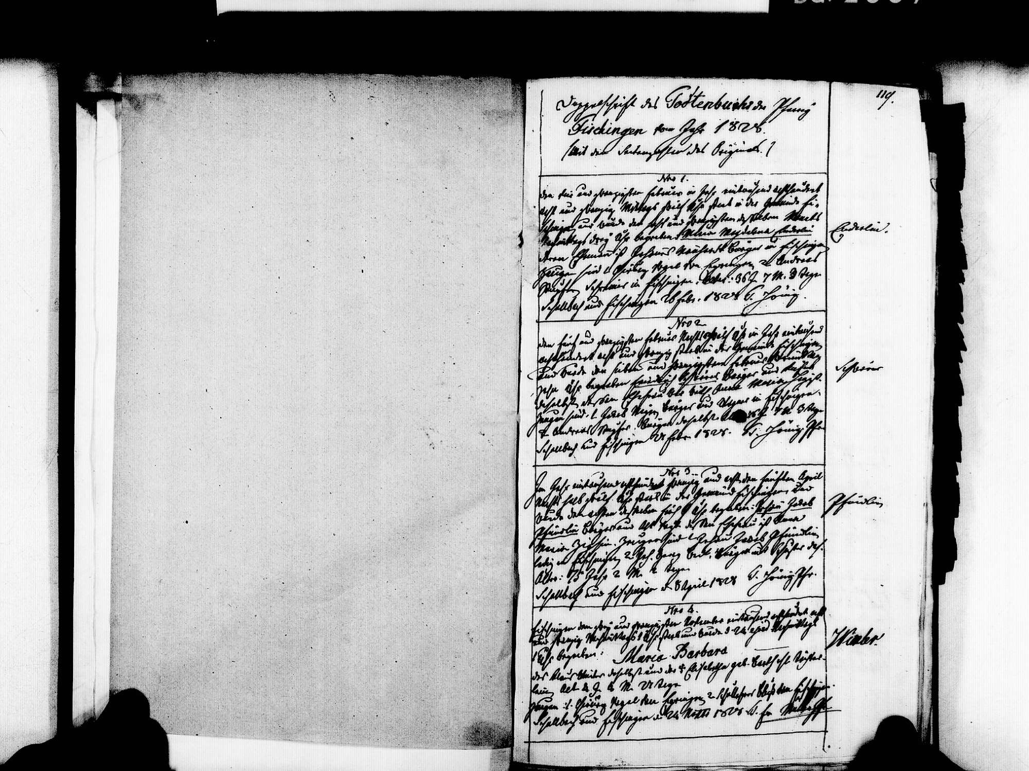 Fischingen LÖ; Evangelische Gemeinde: Sterbebuch 1828-1869, Bild 3