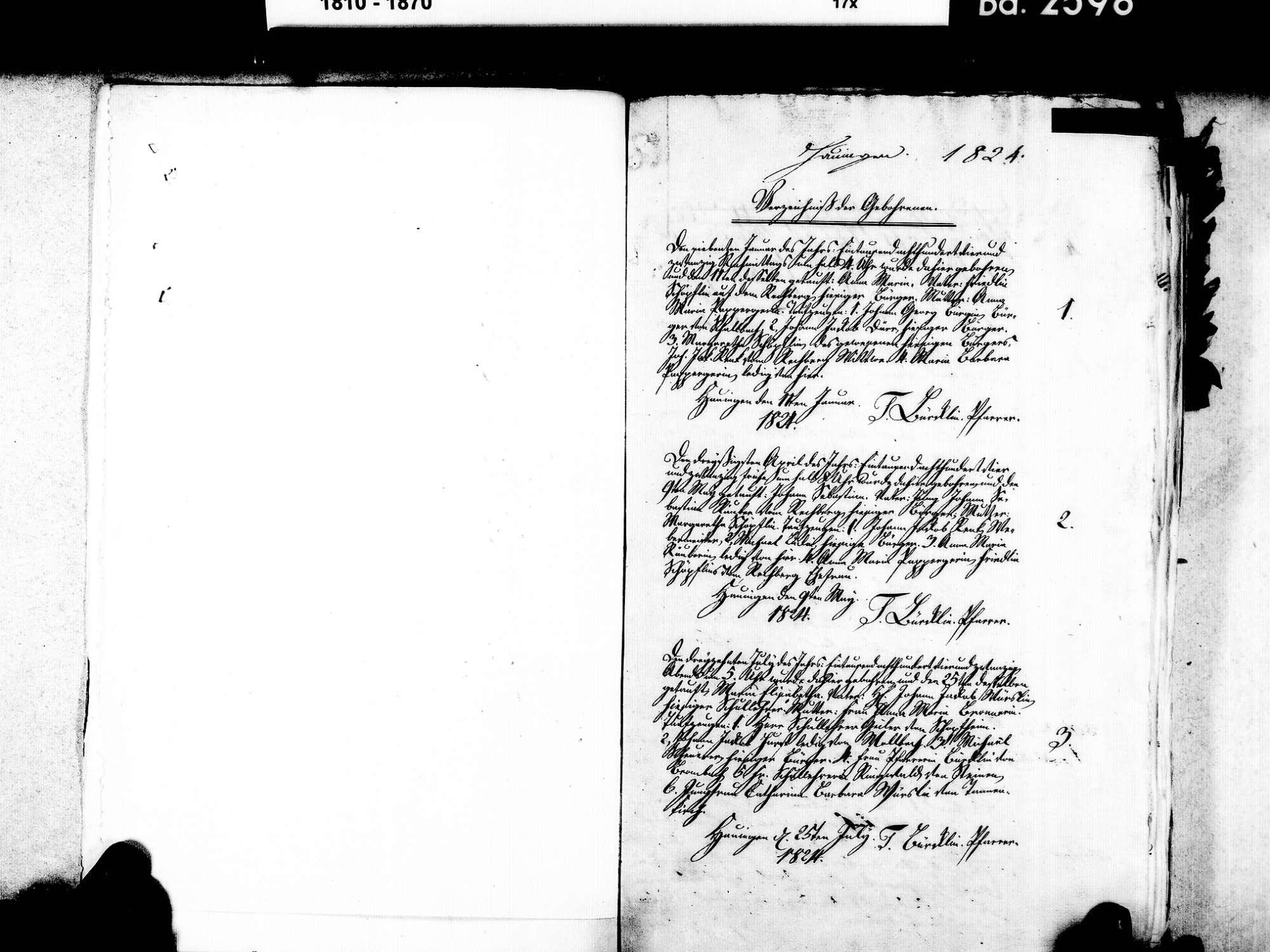 Hauingen, Lörrach LÖ; Evangelische Gemeinde: Geburtenbuch 1824-1869 Hautingen, Lörrach LÖ; Evangelische Gemeinde: Sterbebuch 1855, Bild 3