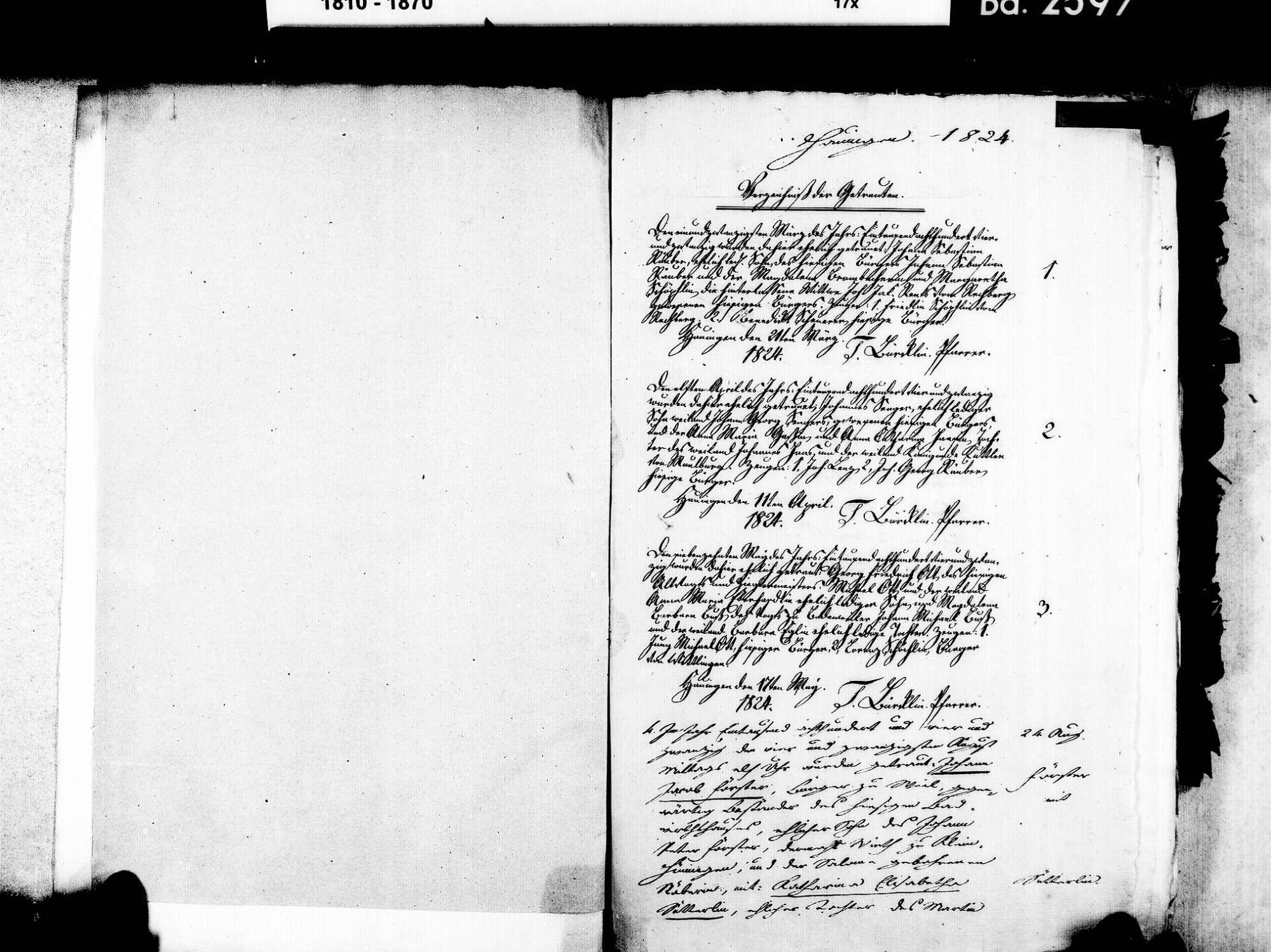 Hauingen, Lörrach LÖ; Evangelische Gemeinde: Heiratsbuch 1824-1869, Bild 3