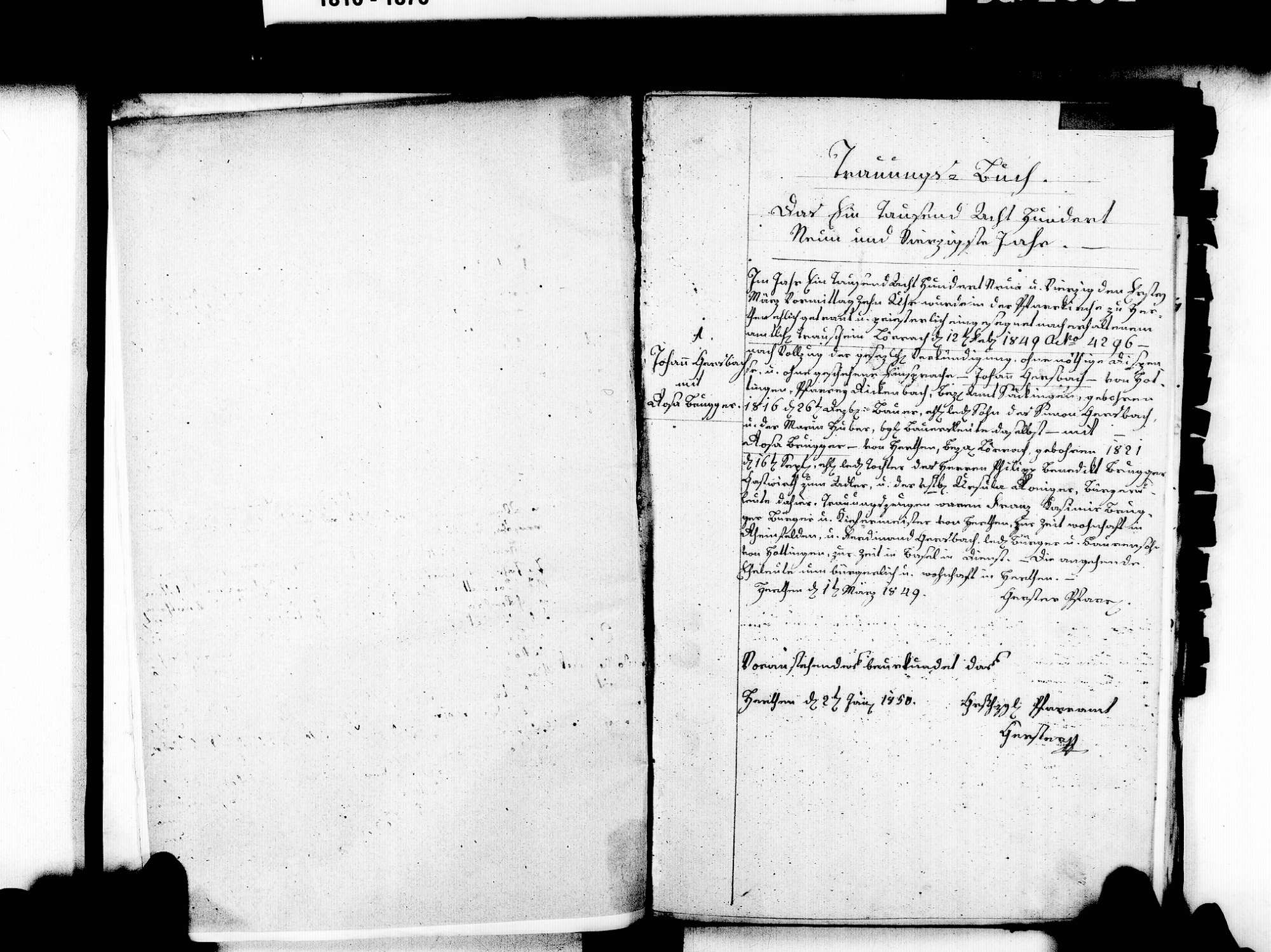 Herten, Rheinfelden (Baden) LÖ; Katholische Gemeinde: Heiratsbuch 1849-1869, Bild 1