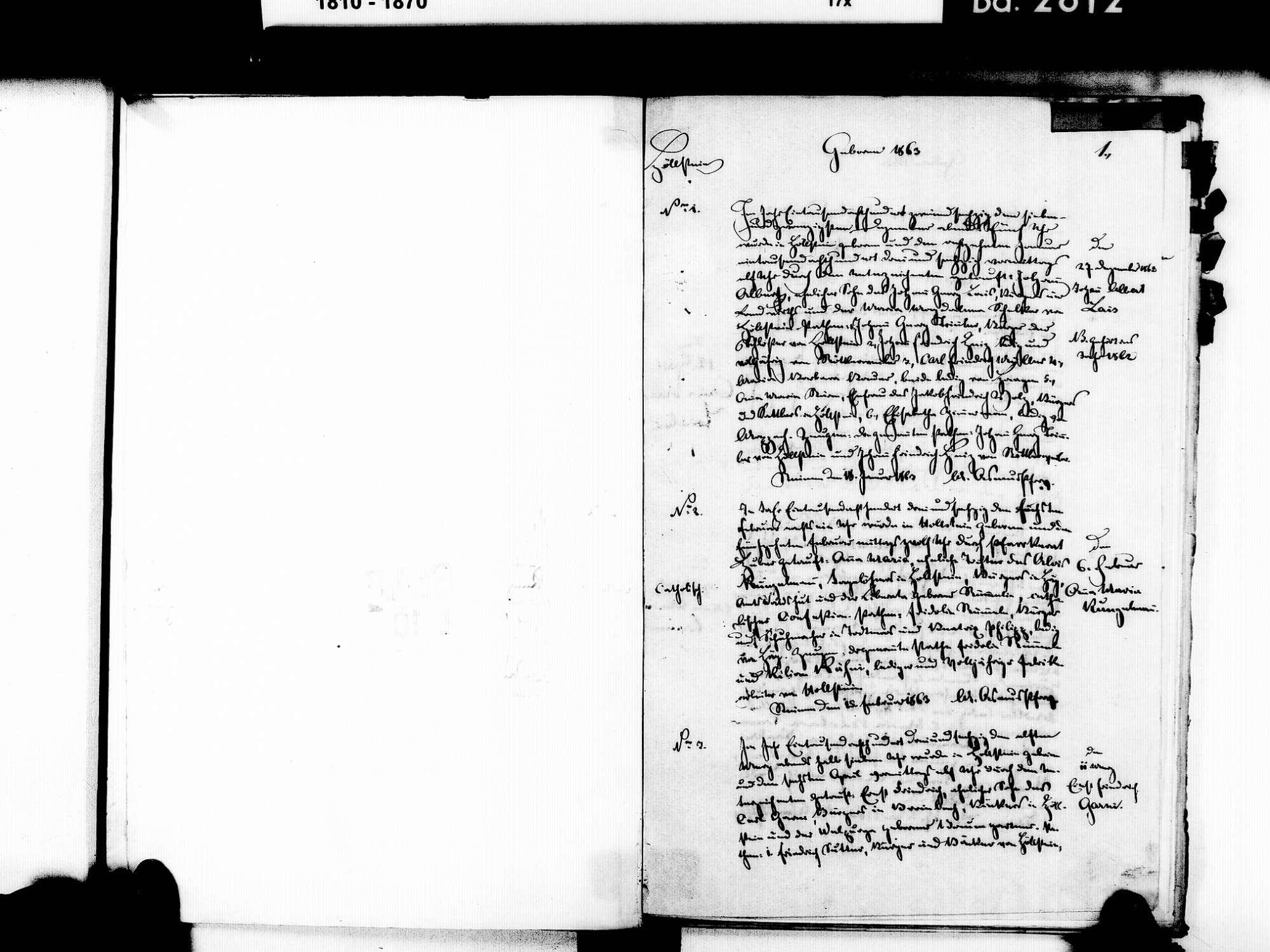 Höllstein, Steinen LÖ; Evangelische Gemeinde: Geburtenbuch 1863-1869 Enthält: Einzelne Katholische Einträge, Bild 3