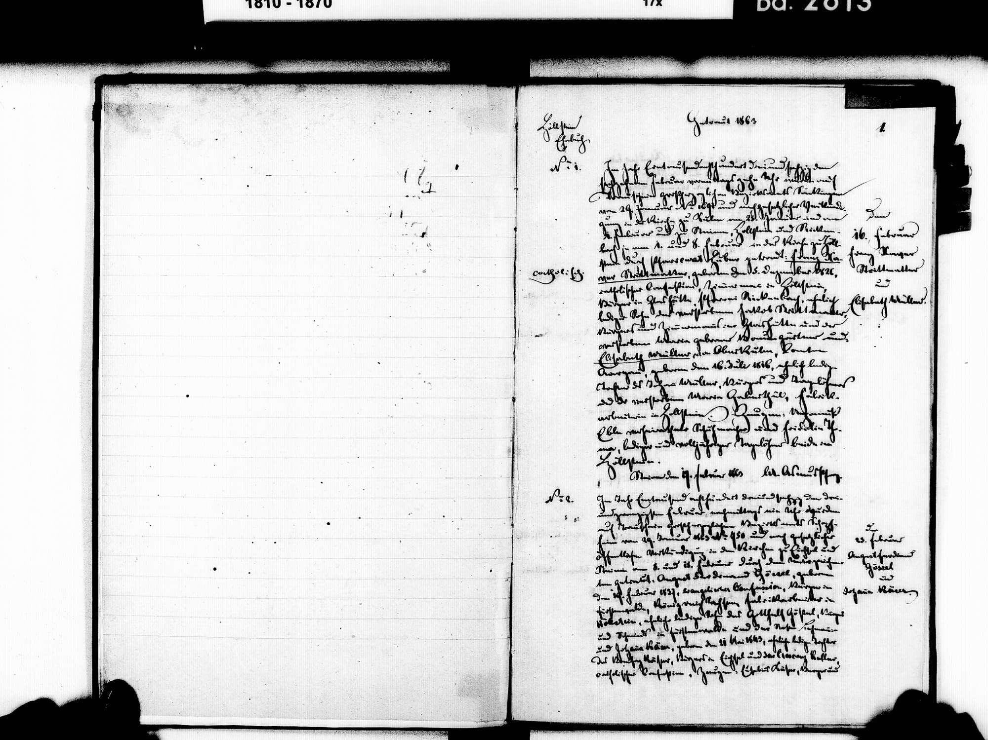 Höllstein, Steinen LÖ; Evangelische Gemeinde: Heiratsbuch 1863-1869 Enthält: Einzelne Katholische Einträge, Bild 3