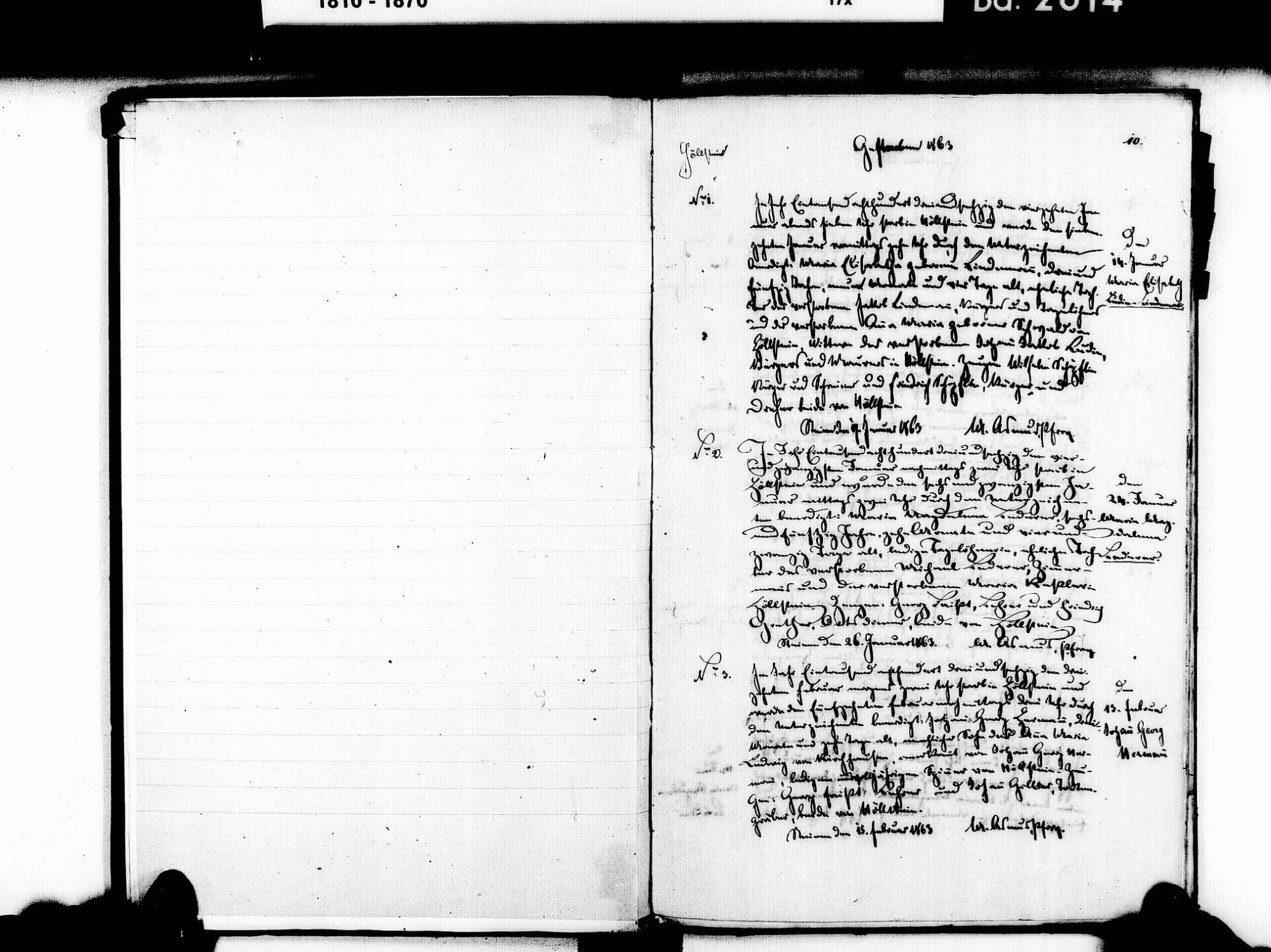 Höllstein, Steinen LÖ; Evangelische Gemeinde: Sterbebuch 1863-1869 Enthält: Einzelne Katholische Einträge, Bild 3