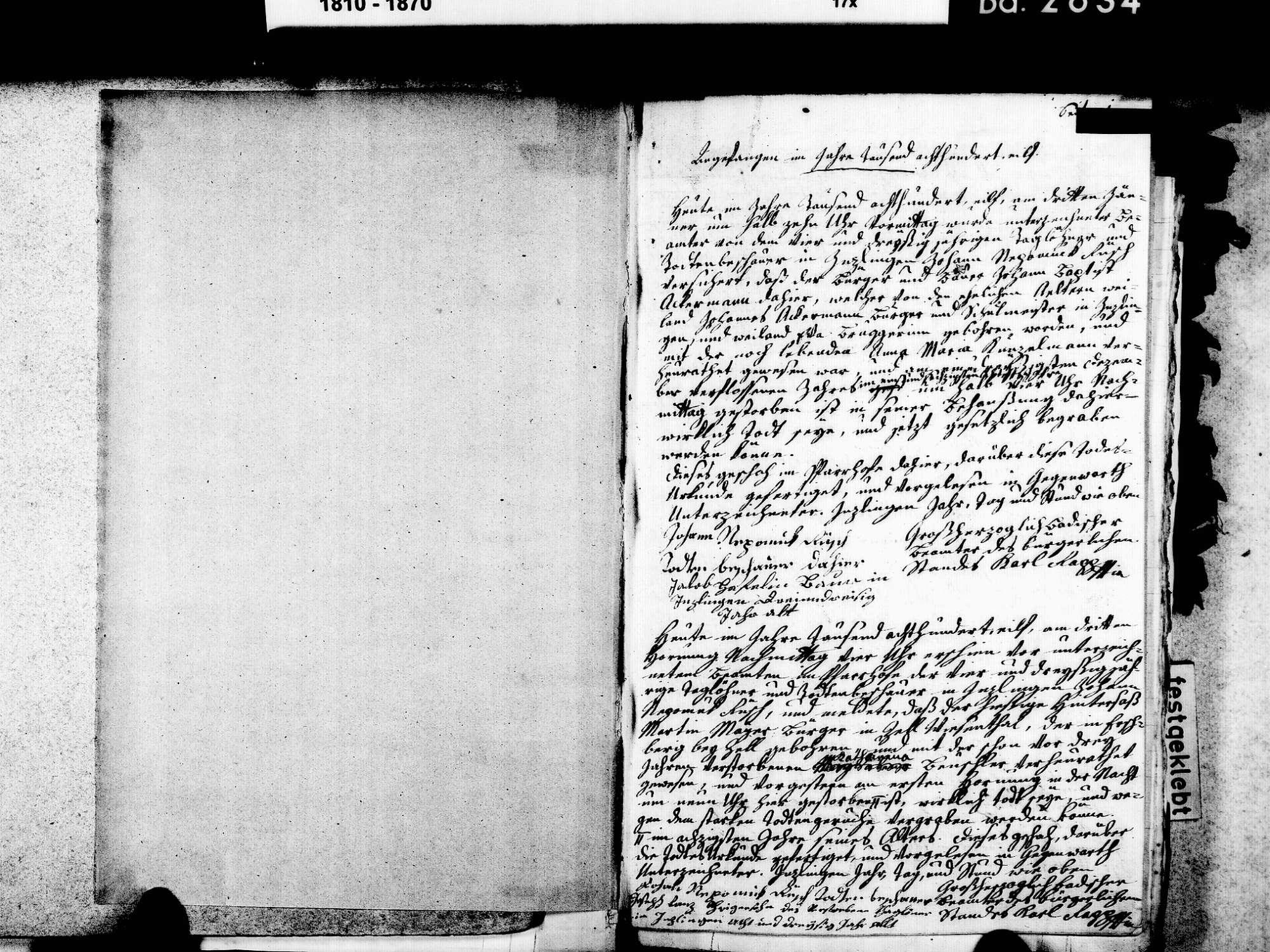 Inzlingen LÖ; Katholische Gemeinde: Sterbebuch 1811-1846 Inzlingen LÖ; Katholische Gemeinde: Heiratsbuch 1843, Bild 3