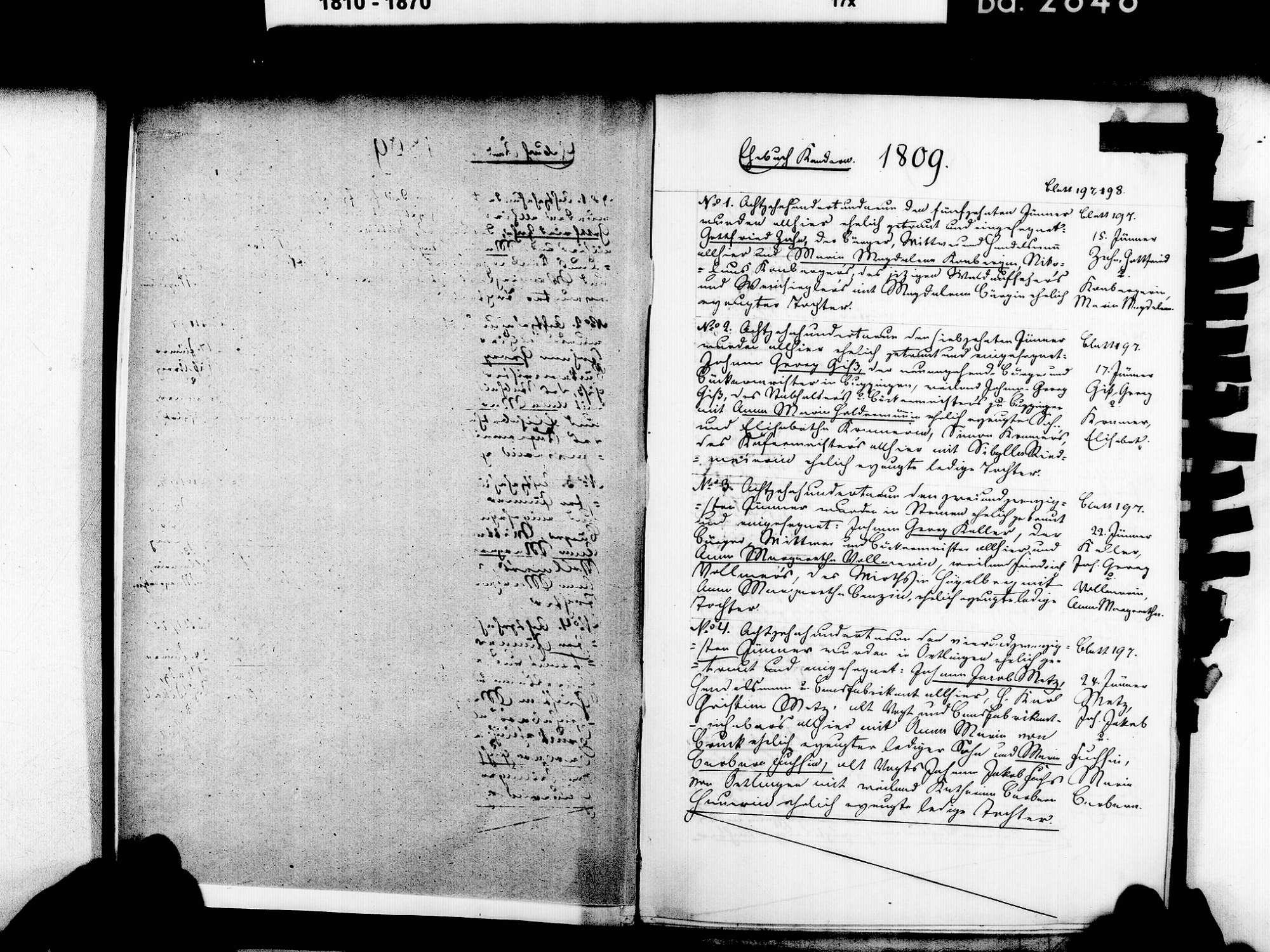 Kandern LÖ; Evangelische Gemeinde: Heiratsbuch 1809-1825, Bild 3