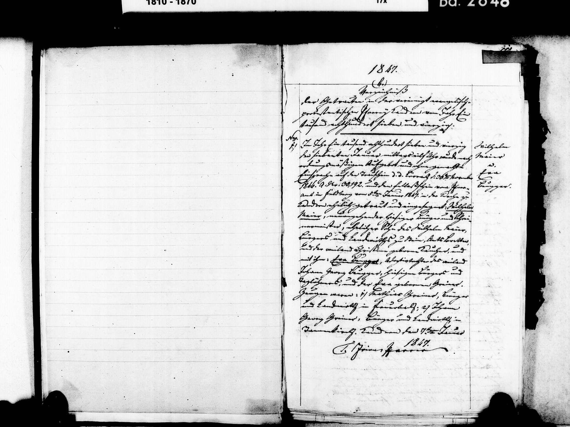 Kandern LÖ; Evangelische Gemeinde: Heiratsbuch 1847-1869, Bild 3