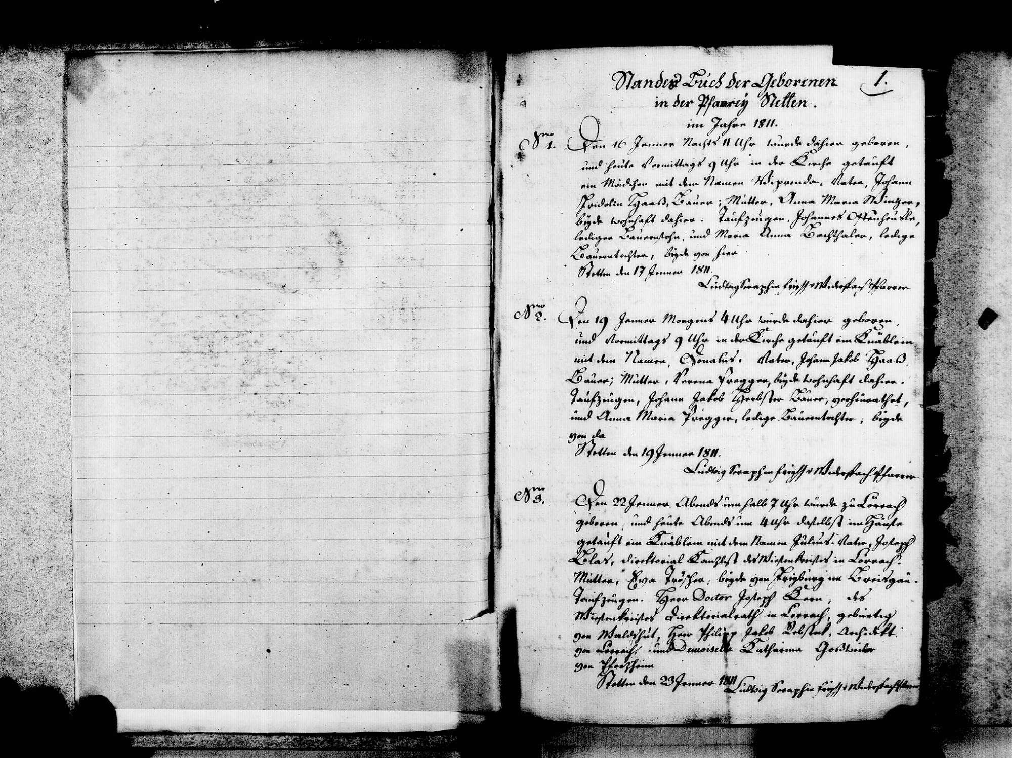 Stetten, aufgegangen in Lörrach LÖ; Katholische Gemeinde: Geburtenbuch 1811-1846, Bild 3