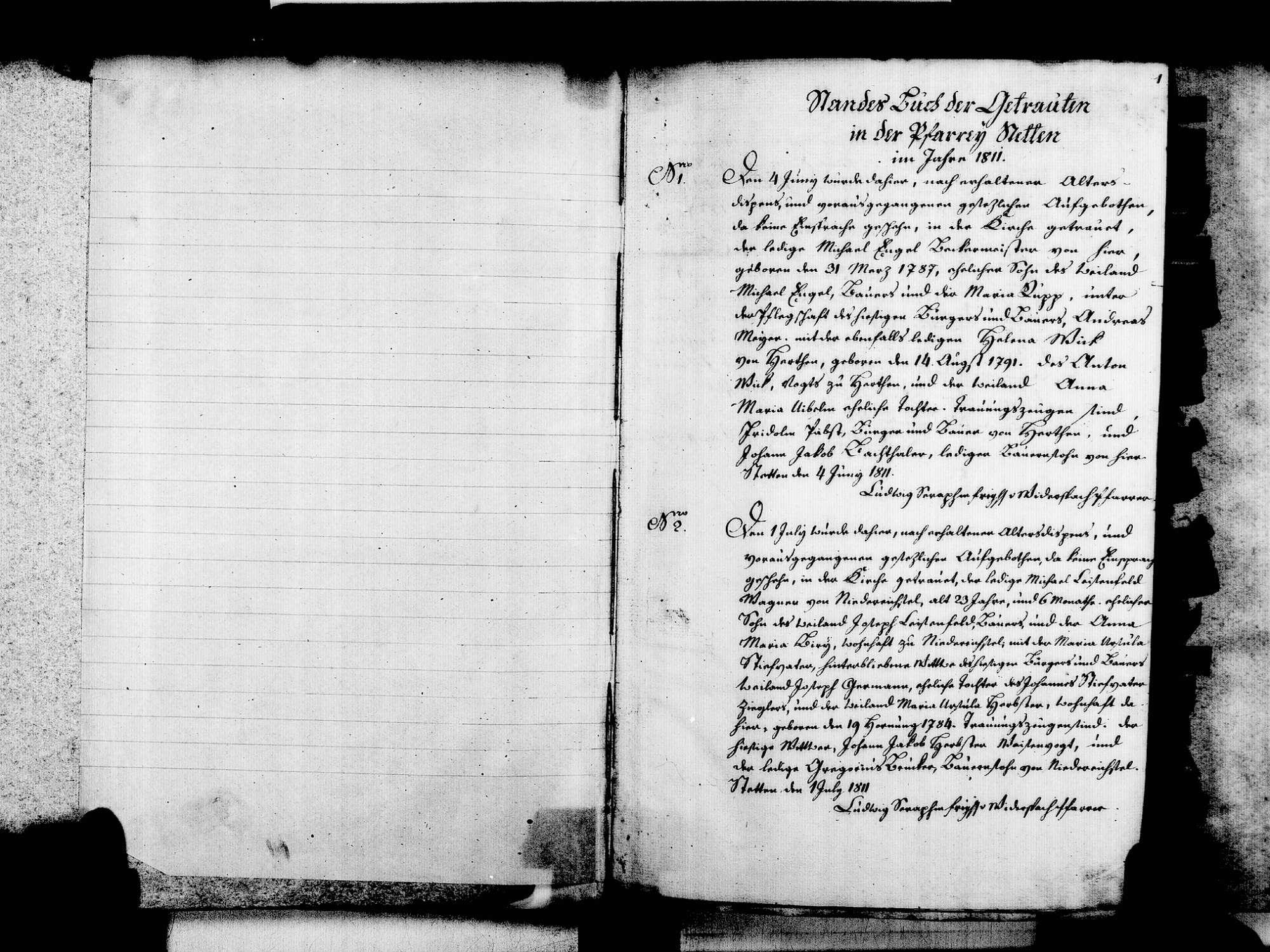 Stetten, aufgegangen in Lörrach LÖ; Katholische Gemeinde: Heiratsbuch 1811-1846, Bild 3