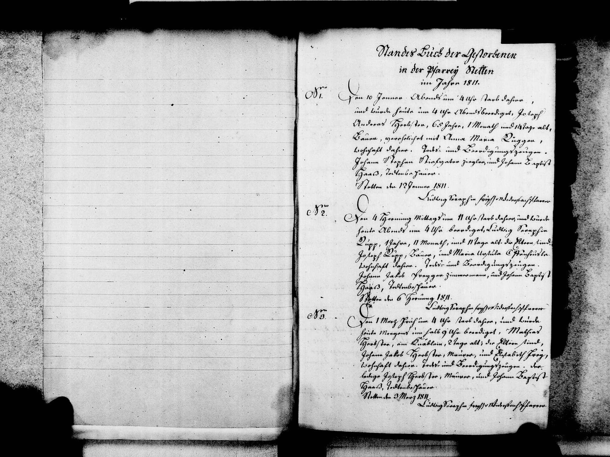Stetten, aufgegangen in Lörrach LÖ; Katholische Gemeinde: Sterbebuch 1811-1846, Bild 3