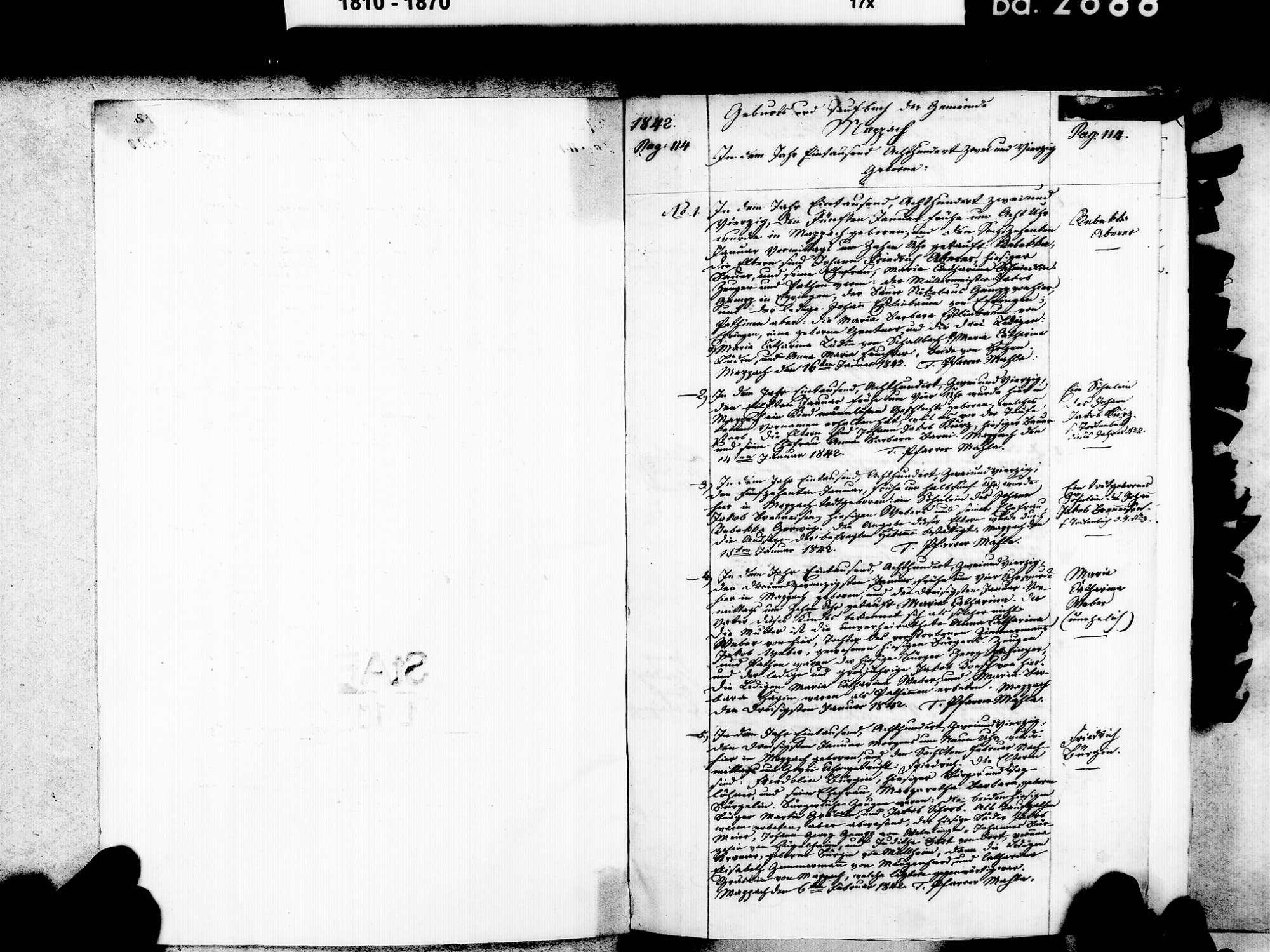 Mappach, Efringen-Kirchen LÖ; Evangelische Gemeinde: Geburtenbuch 1842-1869, Bild 3