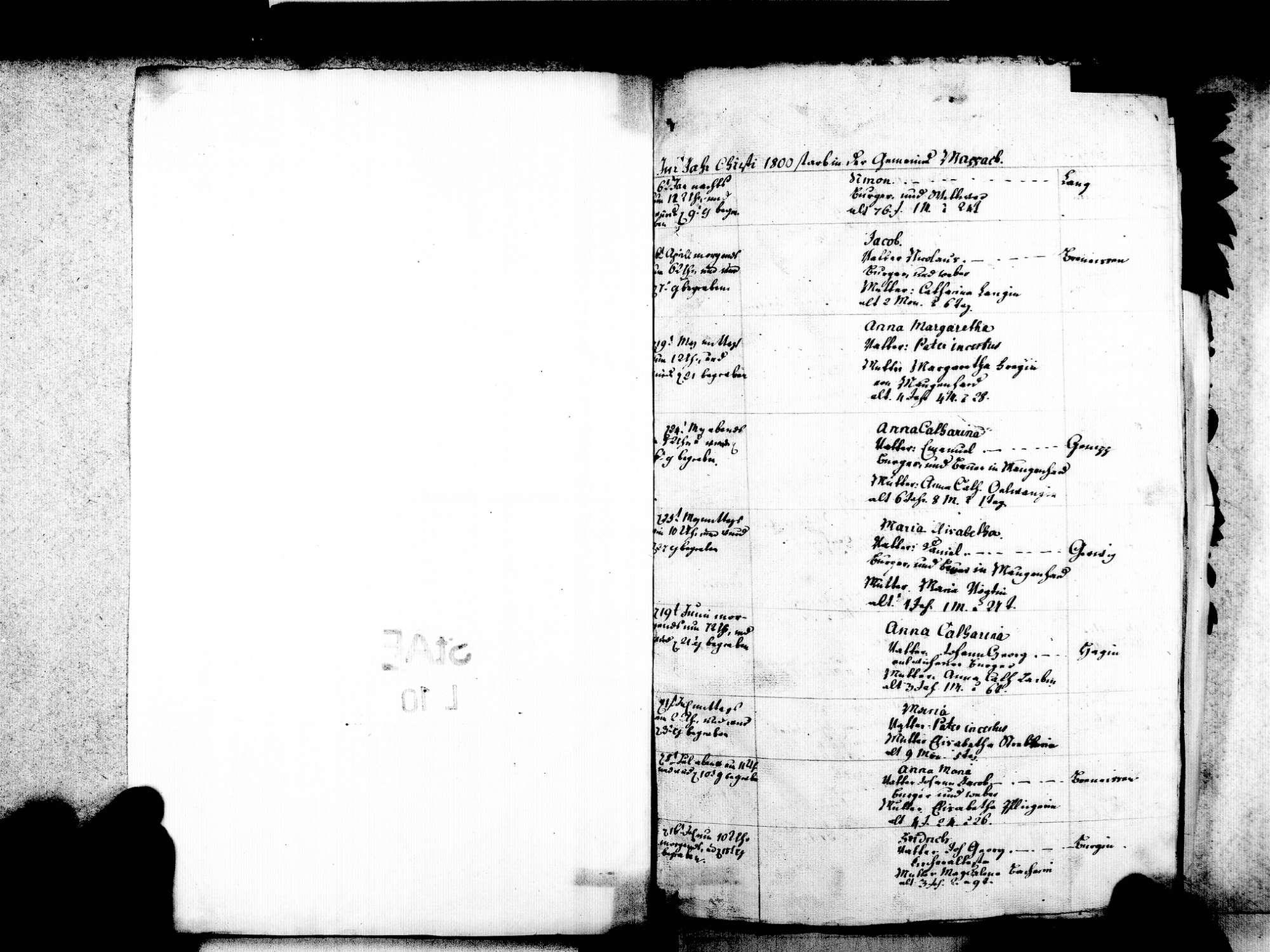 Mappach, Efringen-Kirchen LÖ; Evangelische Gemeinde: Sterbebuch 1800-1869, Bild 3