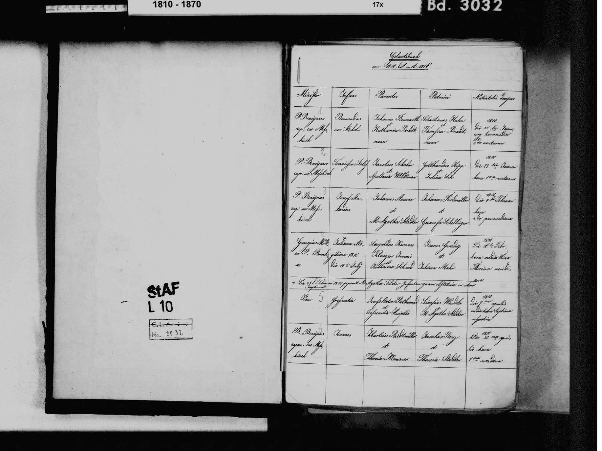 Rast, Sauldorf SIG; Katholische Gemeinde: Standesbuch 1810-1861, Bild 3