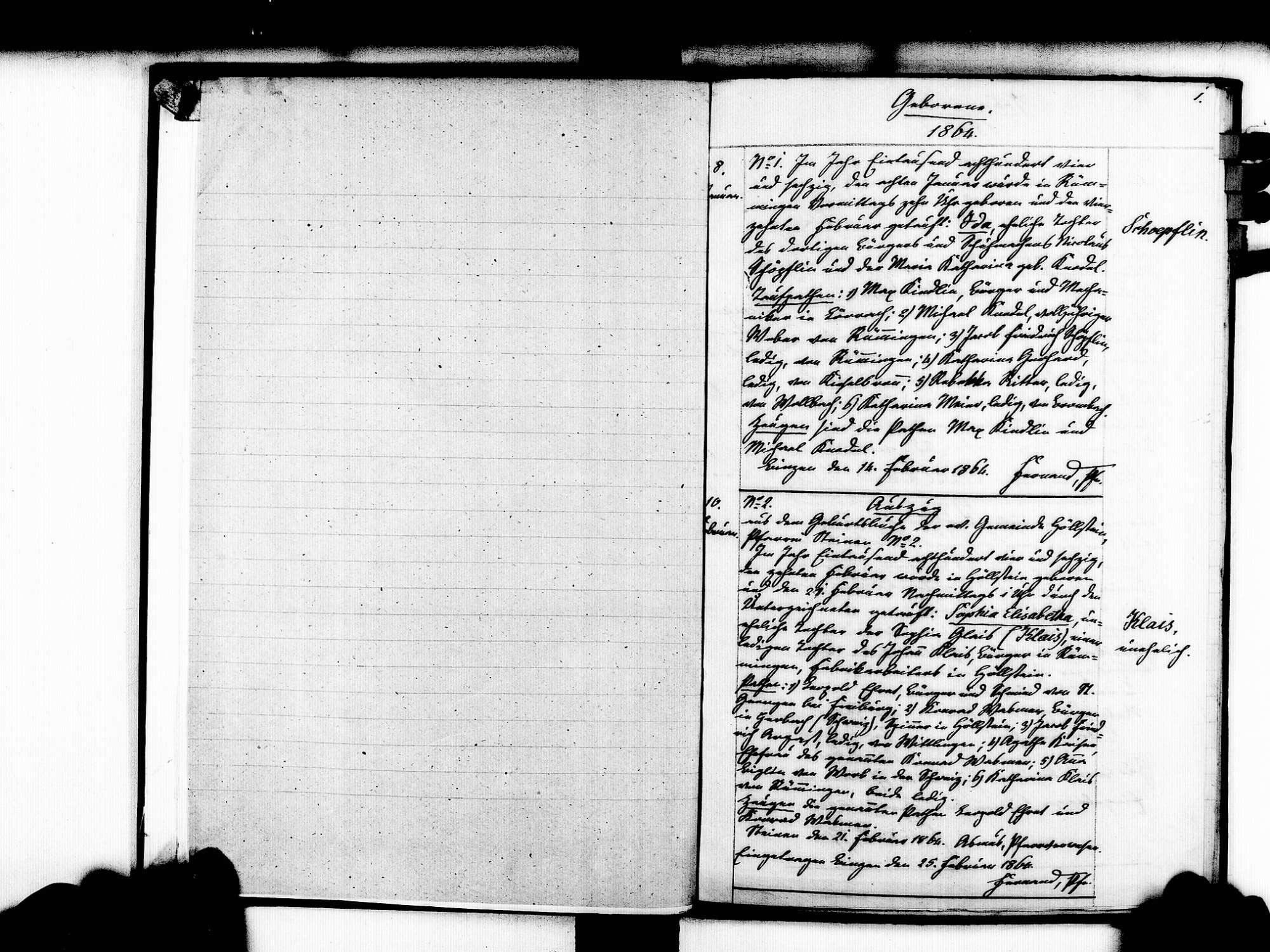 Rümmingen LÖ; Evangelische Gemeinde: Geburtenbuch 1864-1869, Bild 3