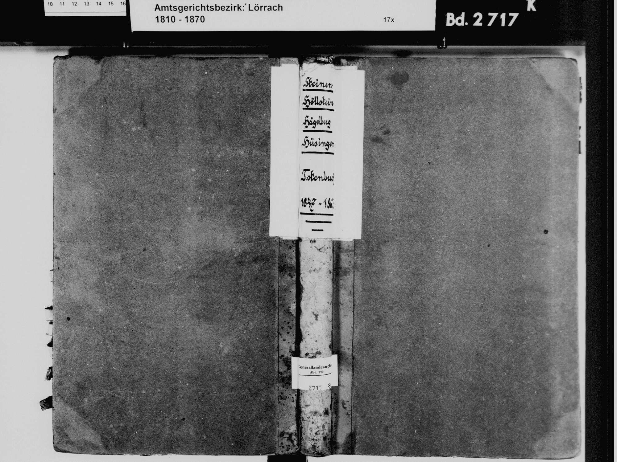 Steinen LÖ; Evangelische Gemeinde: Sterbebuch 1847-1863 Enthält: Einzelne Katholische Einträge, Bild 2