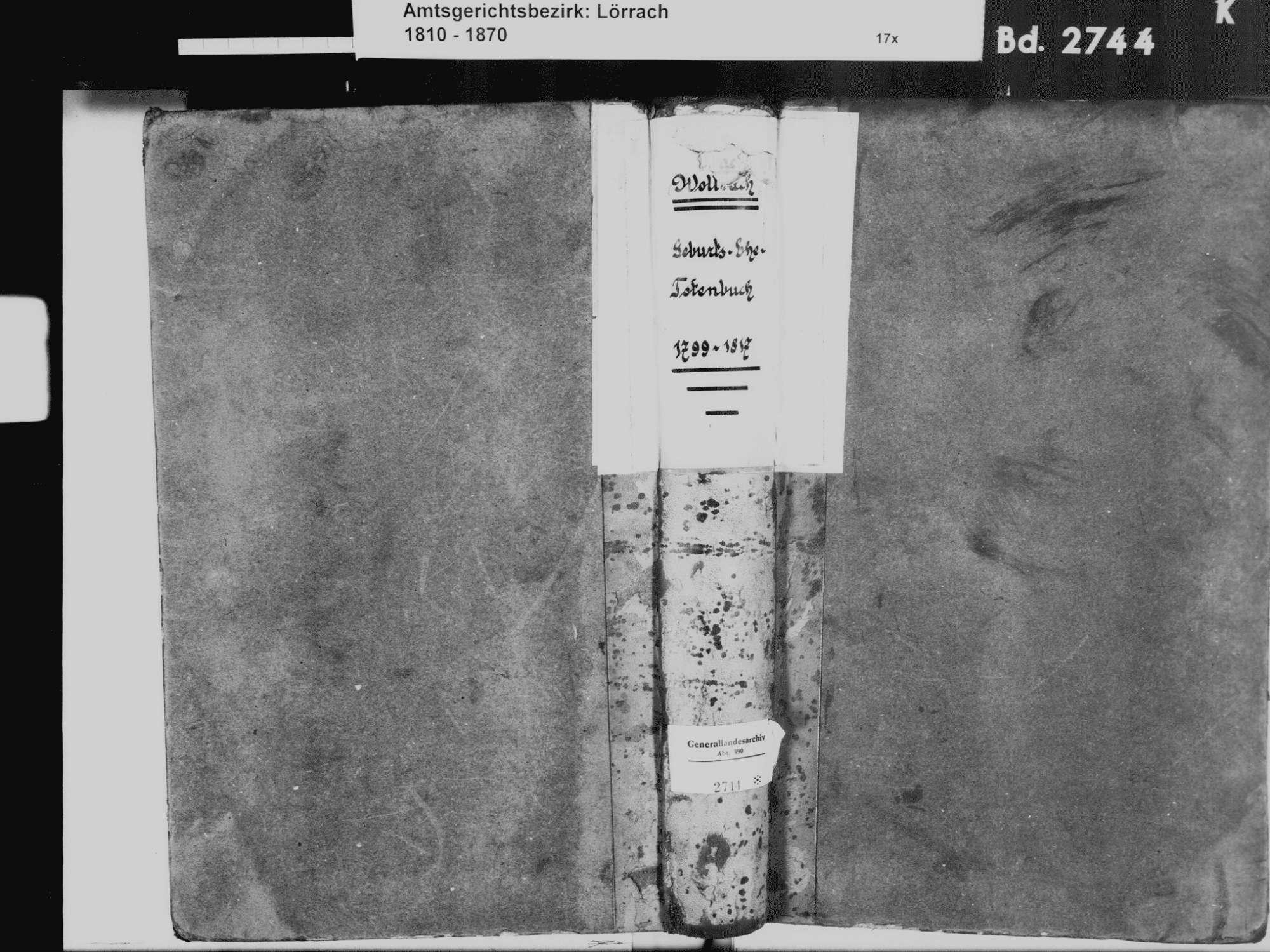 Wollbach, Kandern LÖ; Evangelische Gemeinde: Standesbuch 1799-1817, Bild 2
