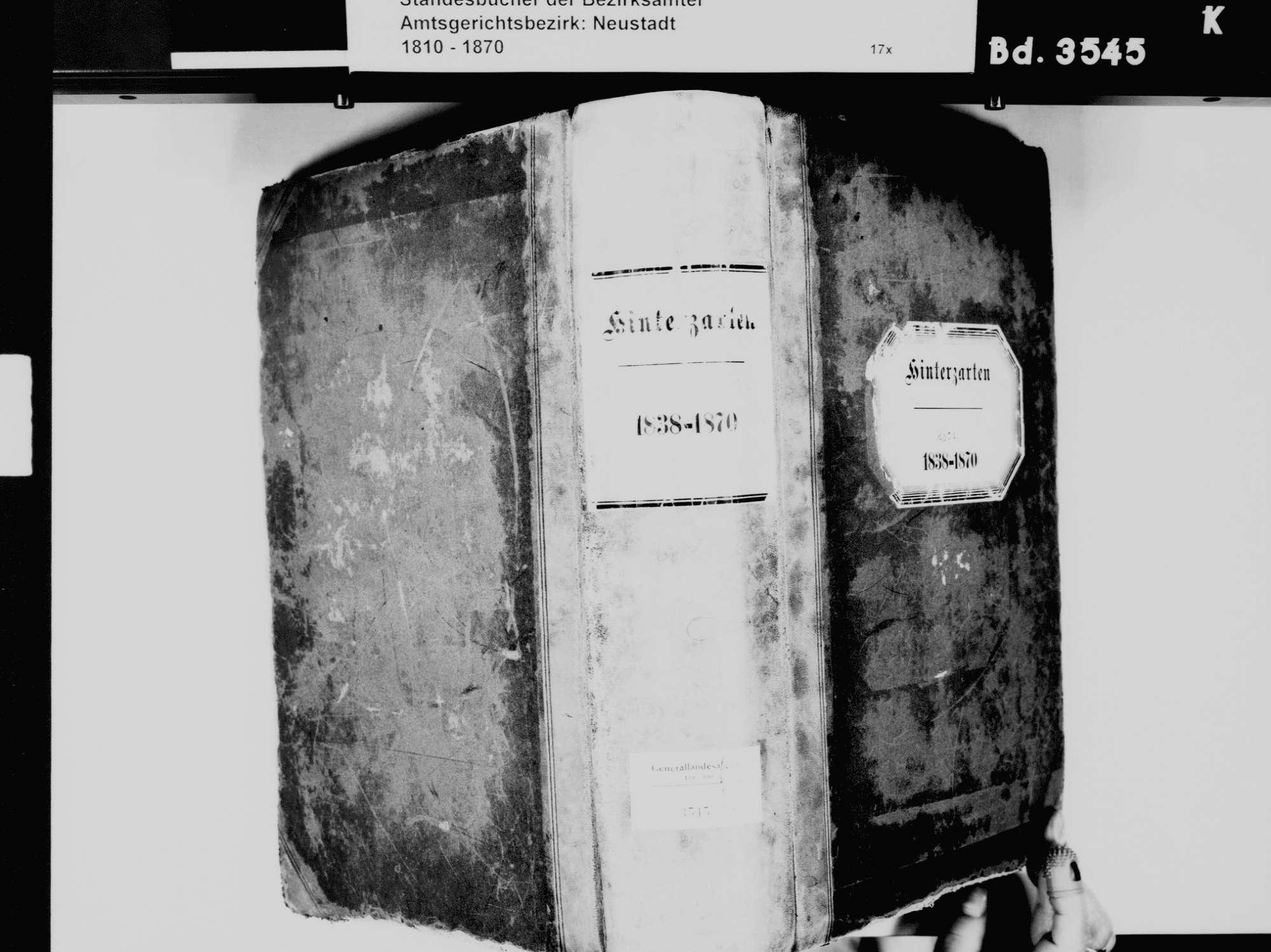 Hinterzarten FR; Katholische Gemeinde: Standesbuch 1838-1870, Bild 2