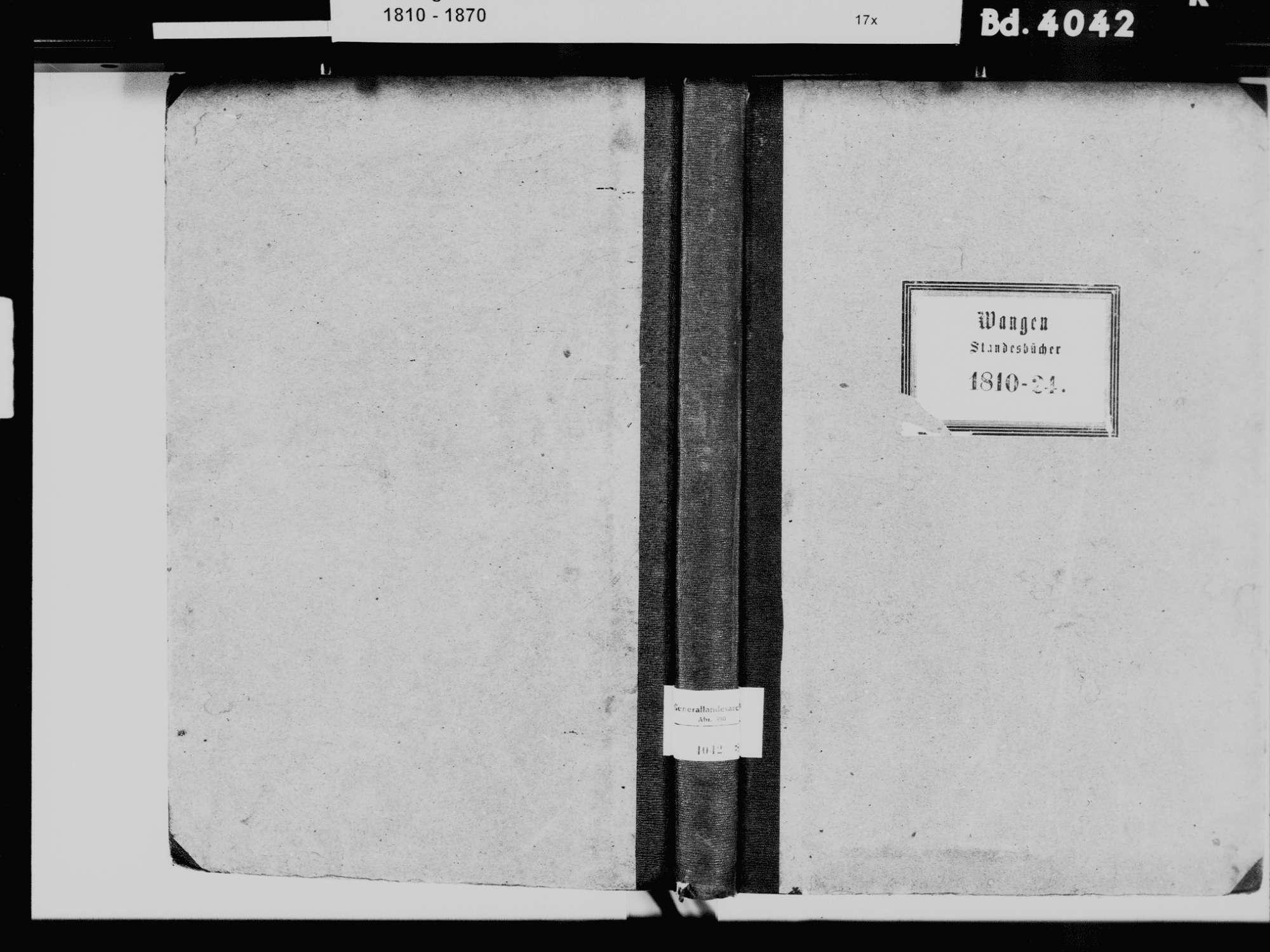 Wangen, Öhningen KN; Katholische Gemeinde: Standesbuch 1810-1824 Wangen, Öhningen KN; Evangelische Gemeinde: Standesbuch 1810-1824, Bild 2