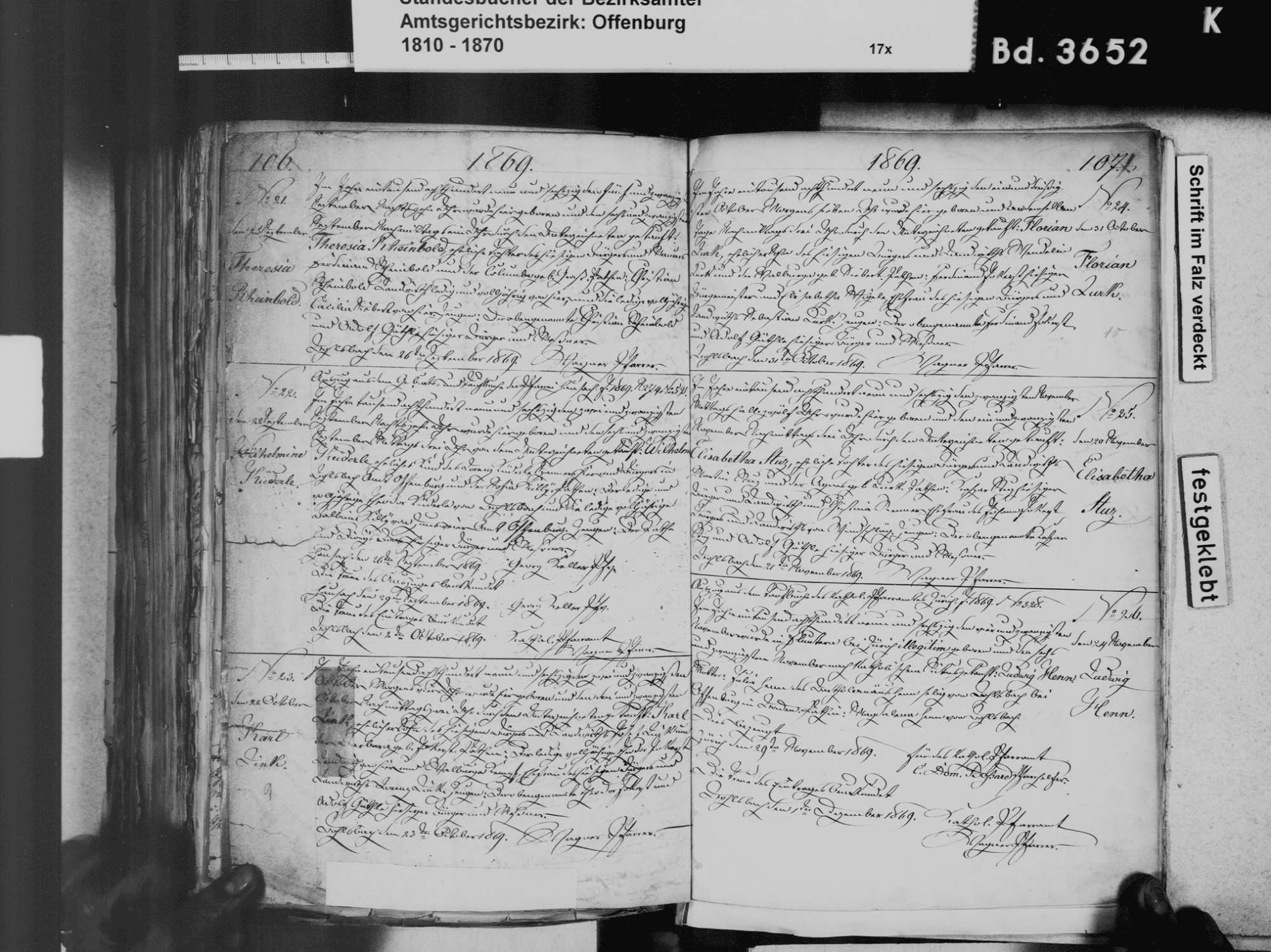 Bohlsbach, Offenburg OG; Katholische Gemeinde: Geburtenbuch 1811-1870, Bild 3