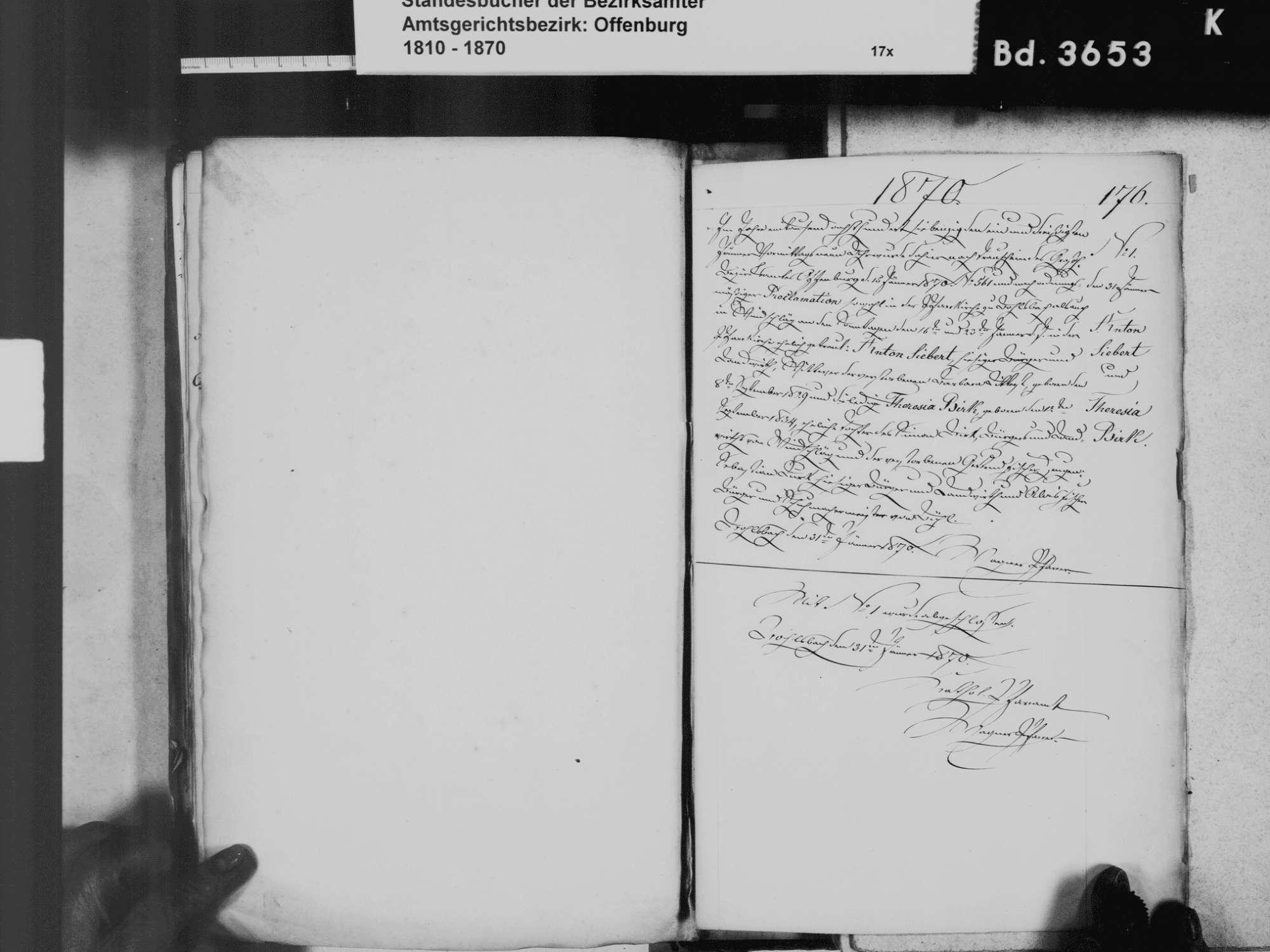 Bohlsbach, Offenburg OG; Katholische Gemeinde: Geburtenbuch 1831 Bohlsbach, Offenburg OG; Katholische Gemeinde: Heiratsbuch 1811-1870, Bild 1