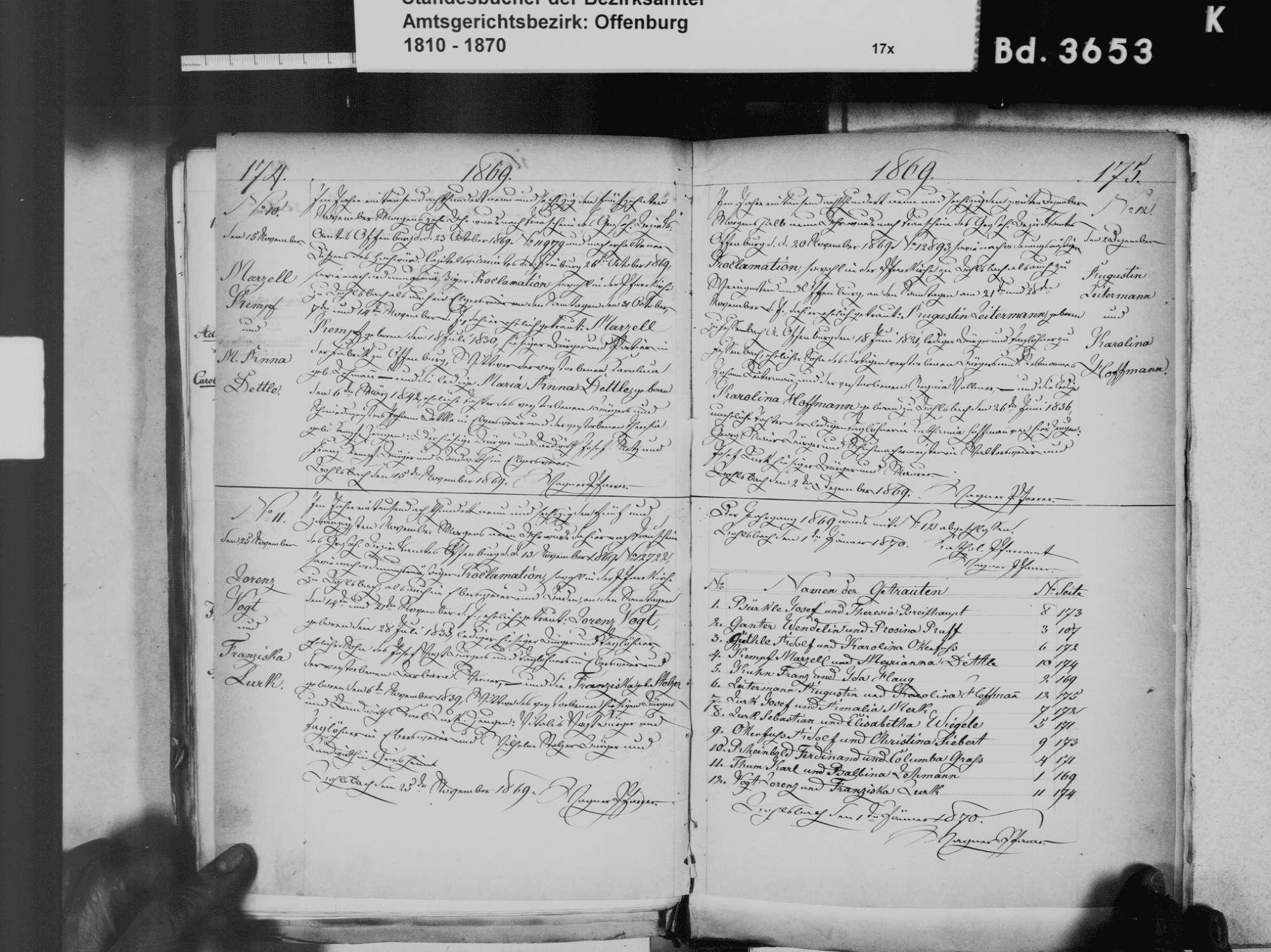Bohlsbach, Offenburg OG; Katholische Gemeinde: Geburtenbuch 1831 Bohlsbach, Offenburg OG; Katholische Gemeinde: Heiratsbuch 1811-1870, Bild 2