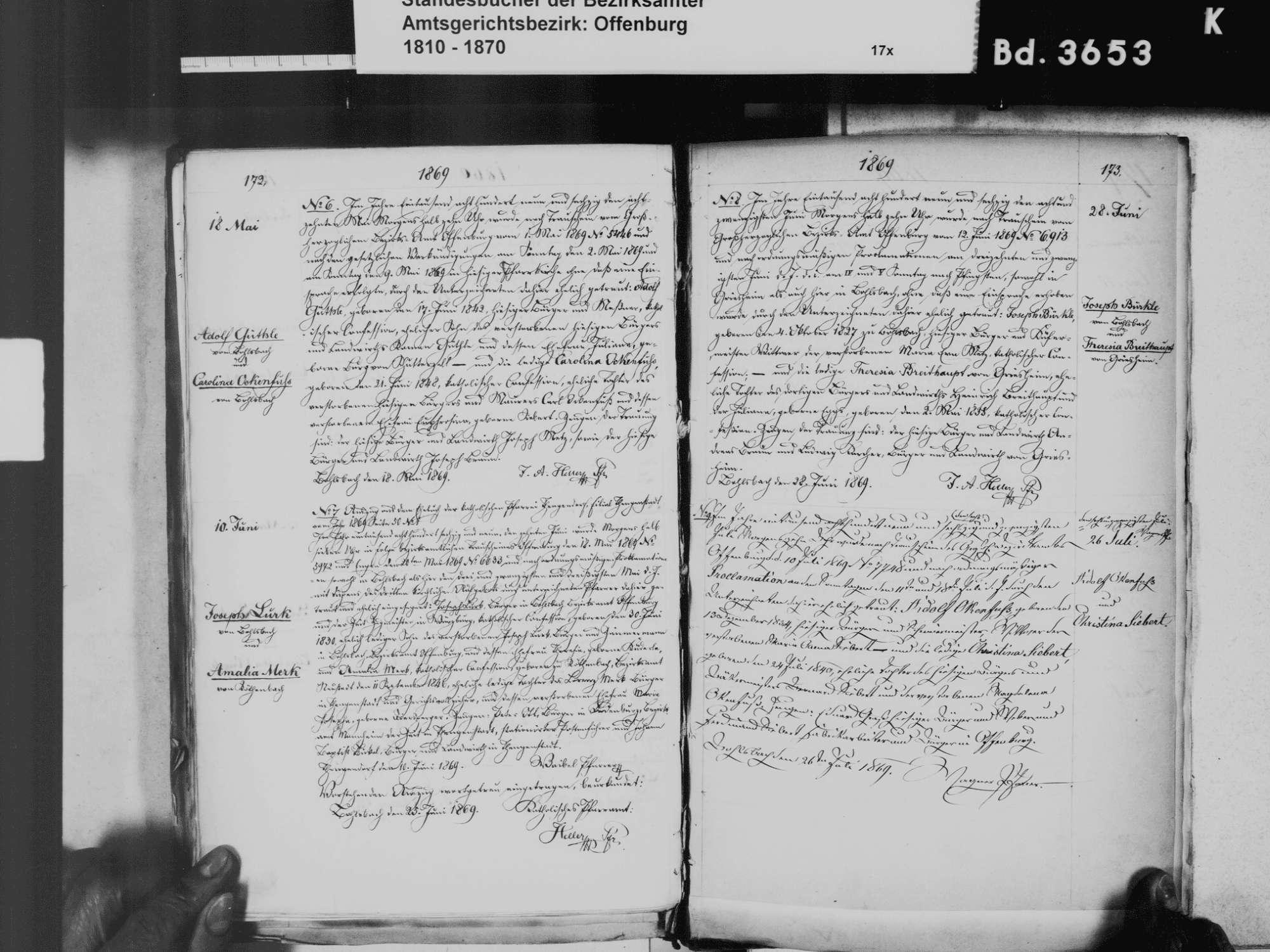 Bohlsbach, Offenburg OG; Katholische Gemeinde: Geburtenbuch 1831 Bohlsbach, Offenburg OG; Katholische Gemeinde: Heiratsbuch 1811-1870, Bild 3