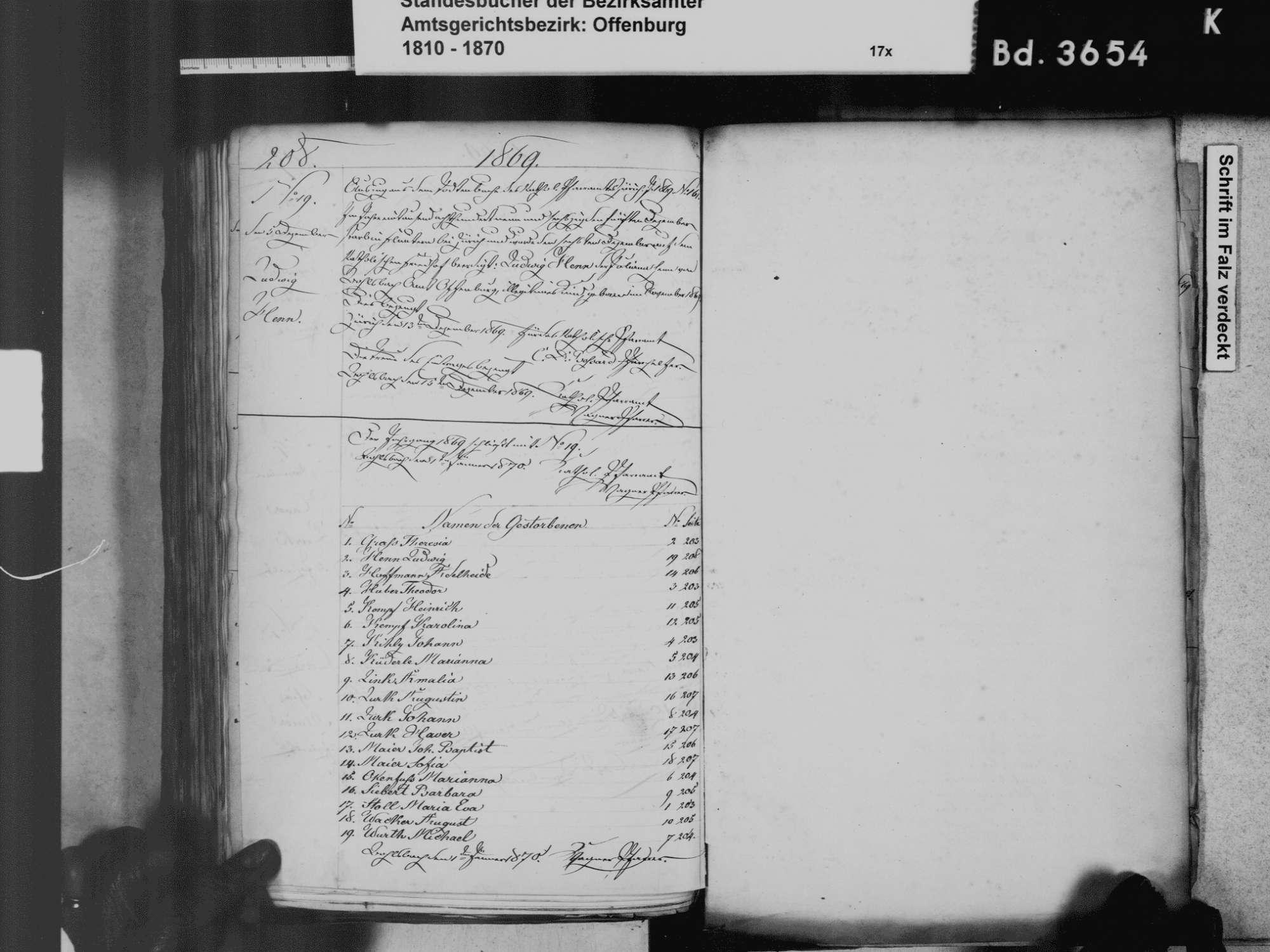 Bohlsbach, Offenburg OG; Katholische Gemeinde: Sterbebuch 1811-1870, Bild 2