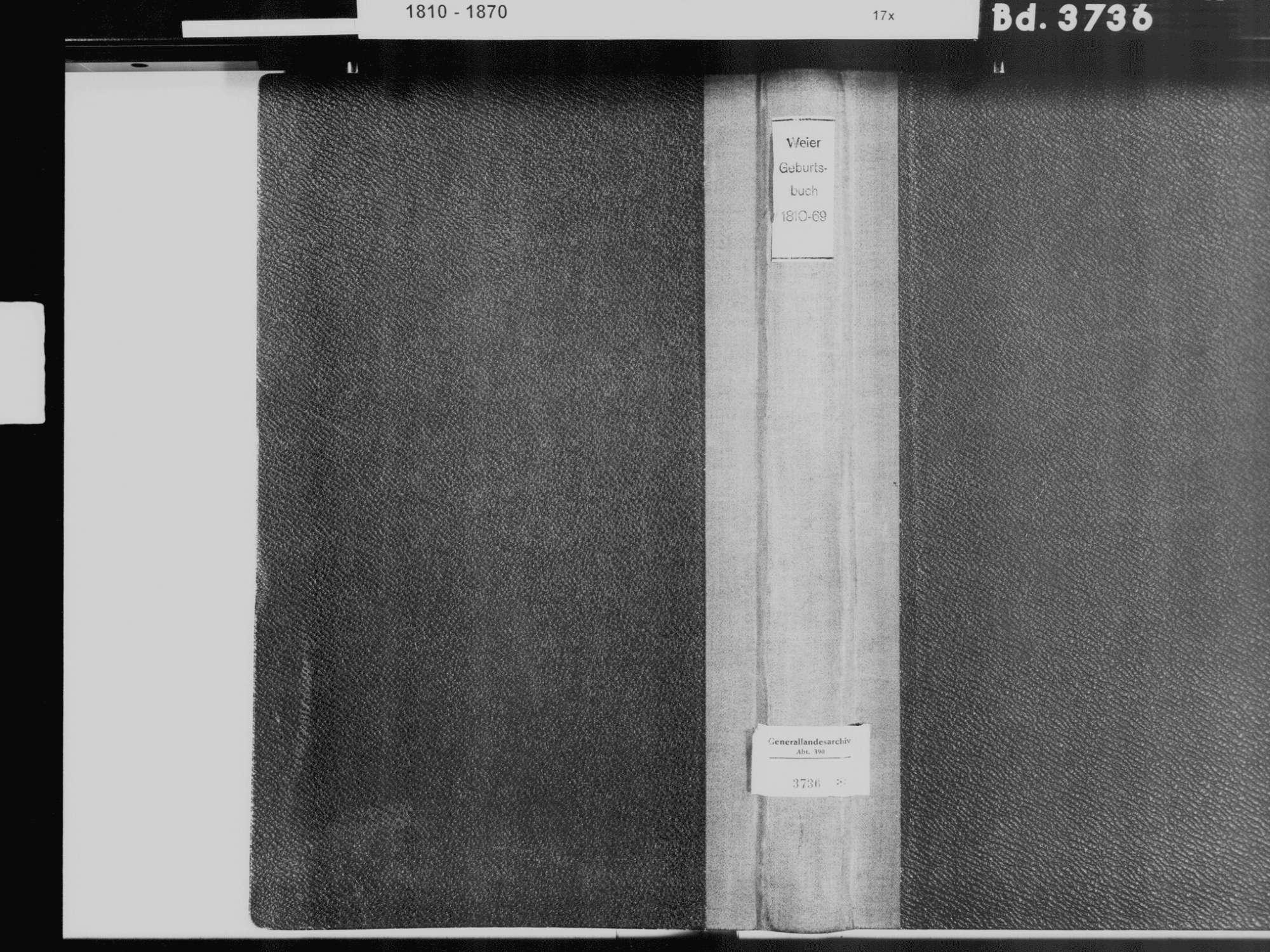 Weier, Offenburg OG; Katholische Gemeinde: Geburtenbuch 1810-1870, Bild 2