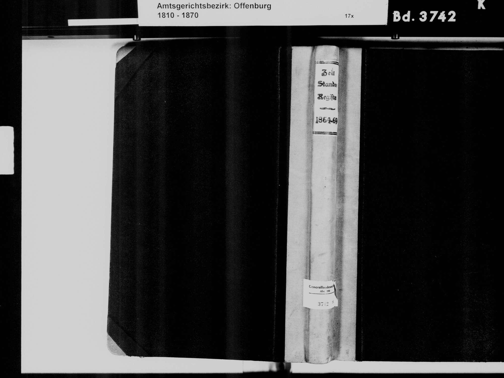 Zell-Weierbach, Offenburg OG; KatholischeGemeinde: Standesbuch 1864-1869, Bild 2