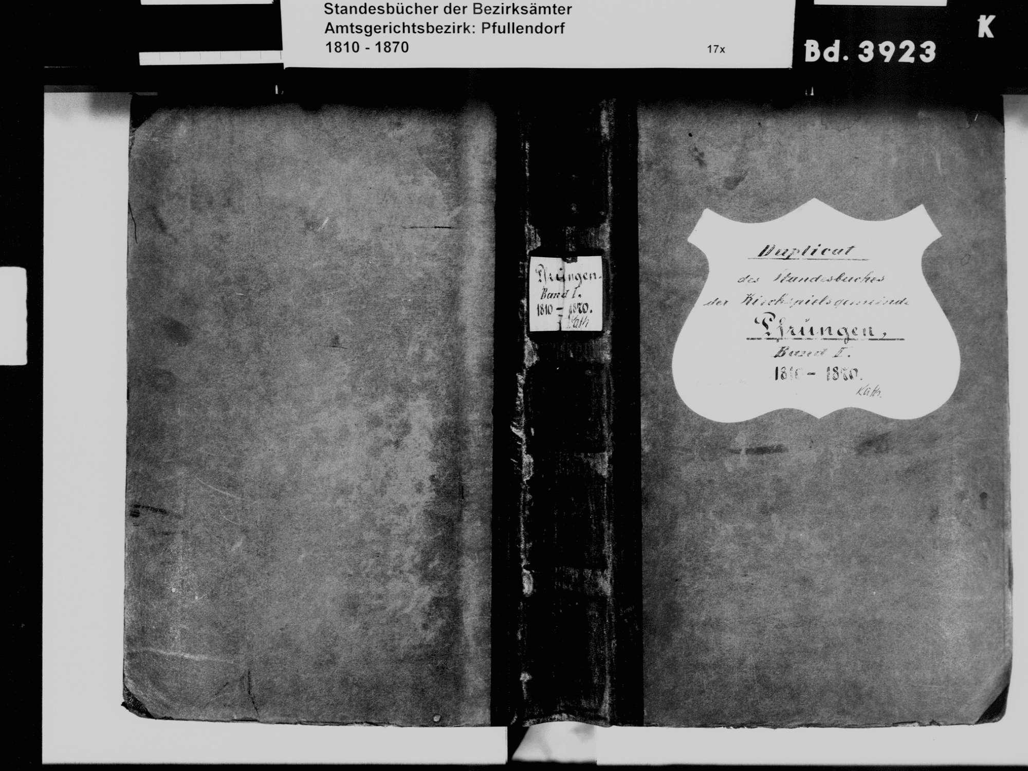 Pfrungen, Wilhelmsdorf RV; Katholische Gemeinde: Standesbuch 1810-1870, Bild 2