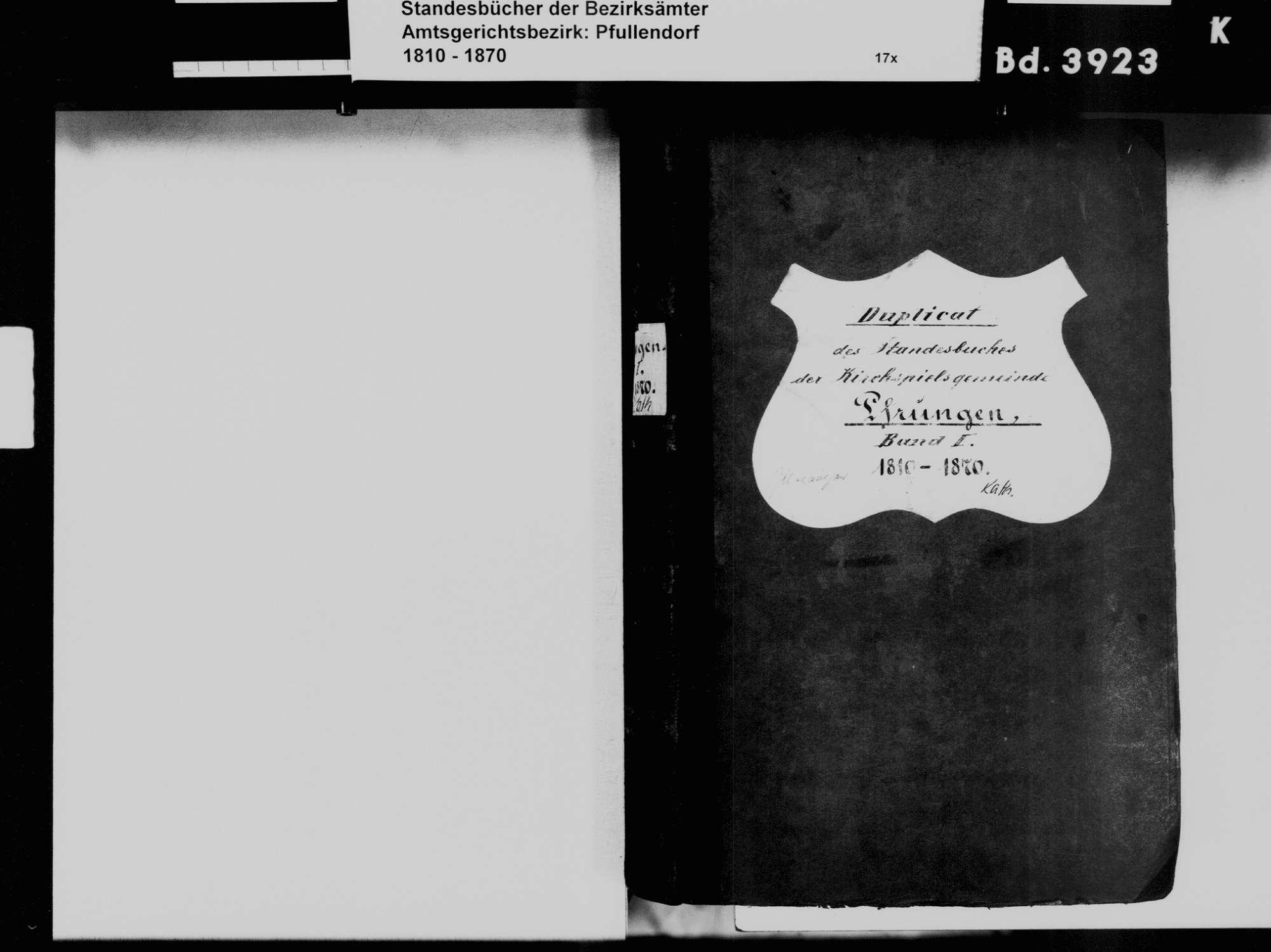 Pfrungen, Wilhelmsdorf RV; Katholische Gemeinde: Standesbuch 1810-1870, Bild 3