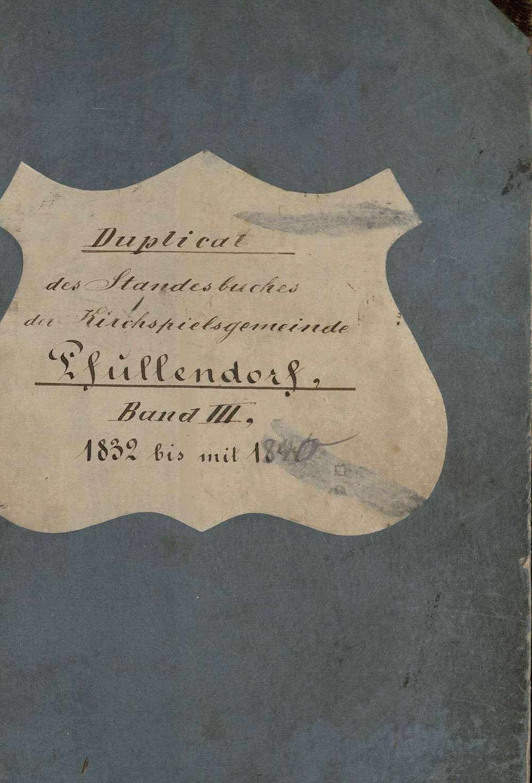 Pfullendorf SIG; Katholische Gemeinde: Standesbuch 1832-1840, Bild 1
