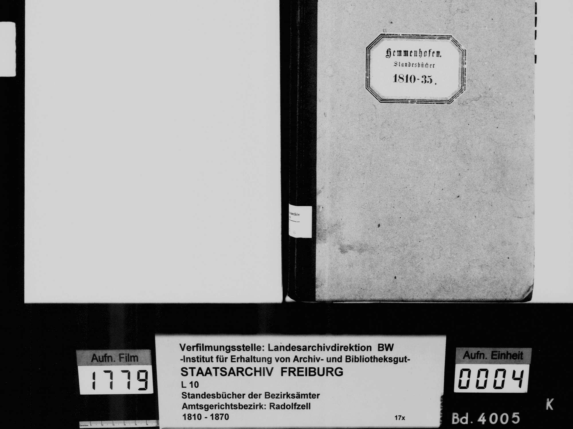 Hemmenhofen, Gaienhofen KN; Katholische Gemeinde: Standesbuch 1810-1835, Bild 3