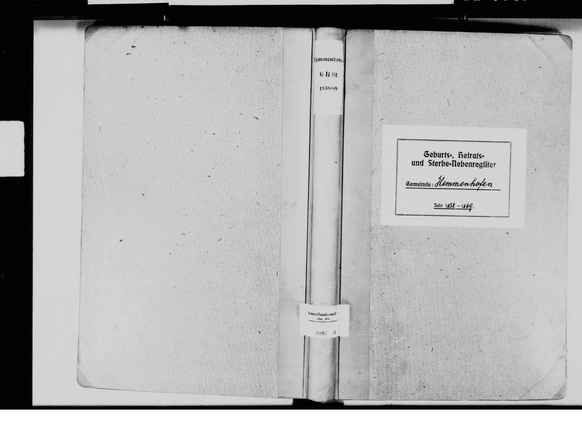 Hemmenhofen, Gaienhofen KN; Katholische Gemeinde: Standesbuch 1858-1869, Bild 2