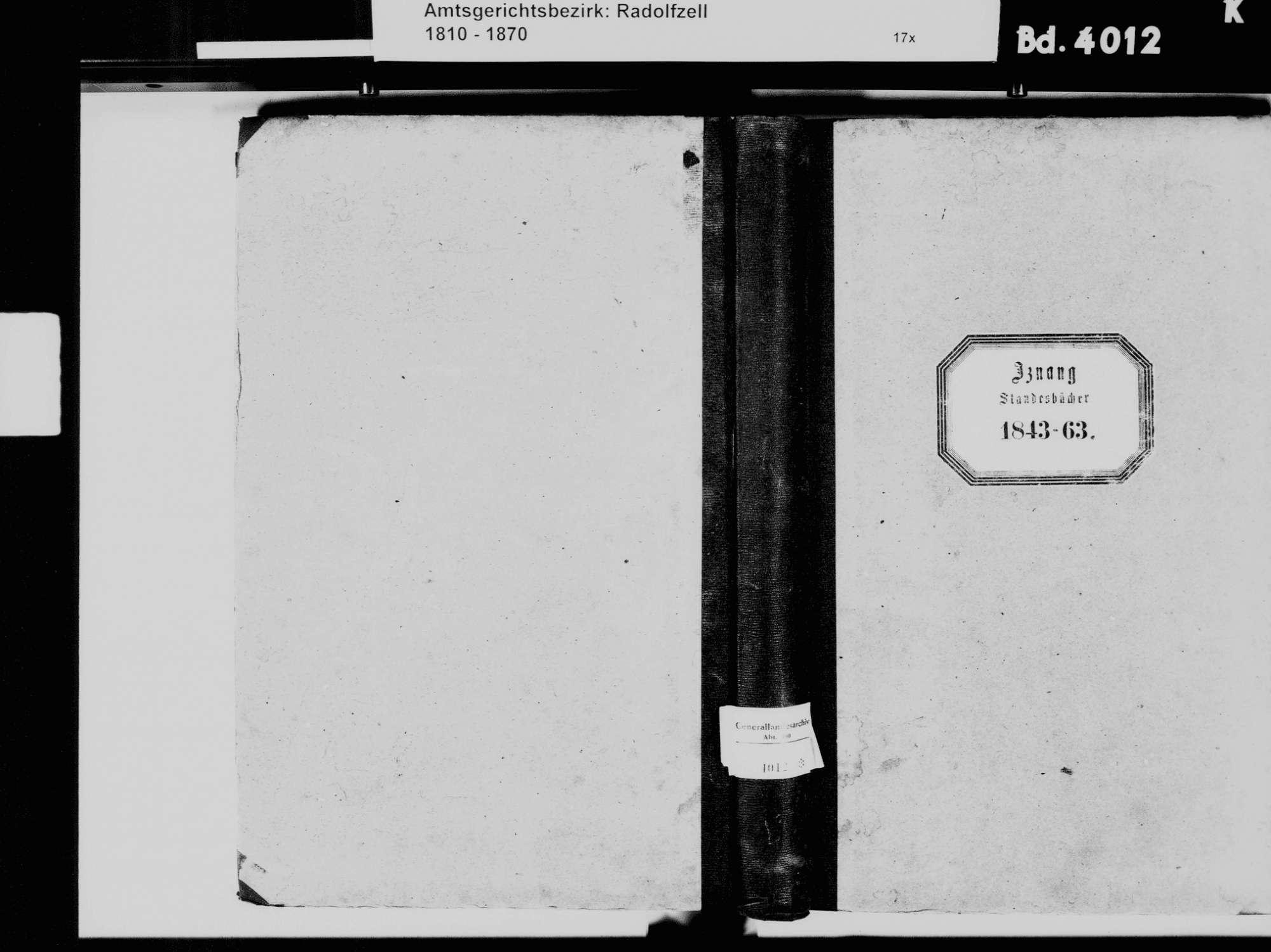 Iznang, Moos KN; Katholische Gemeinde: Standesbuch 1843-1863, Bild 2