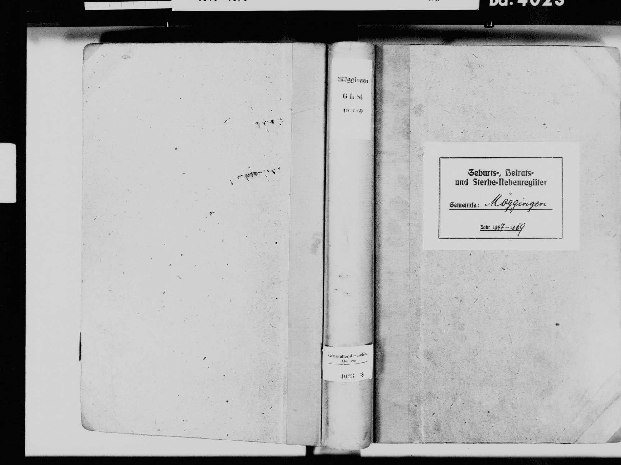 Möggingen, Radolfezll am Bodensee KN; Katholische Gemeinde: Standesbuch 1847-1869, Bild 2