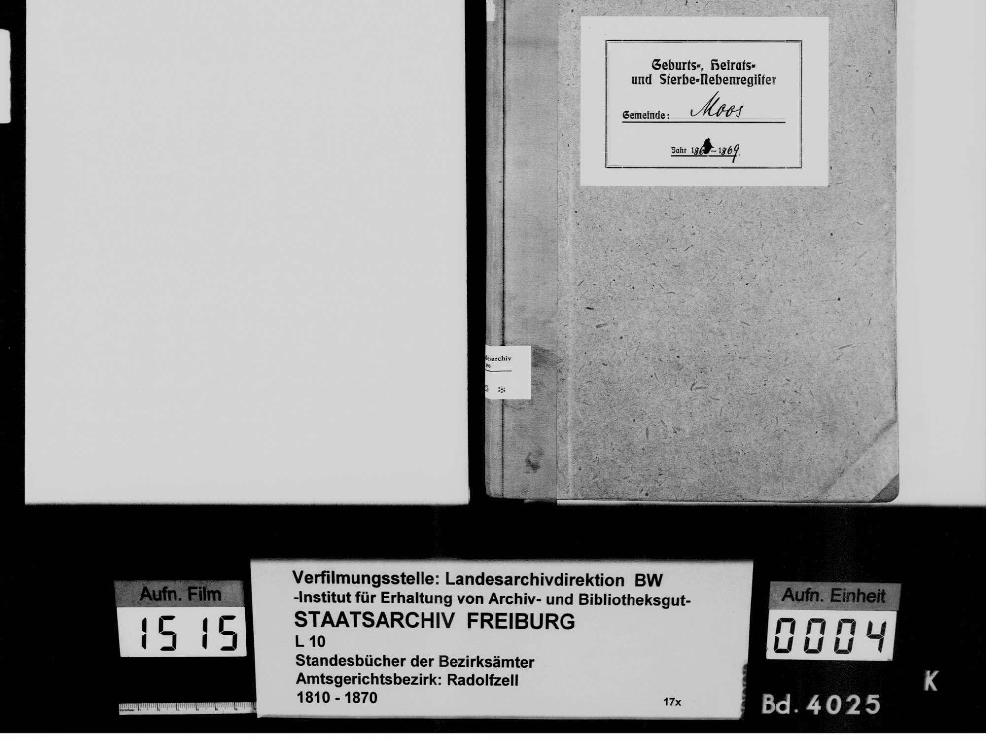 Moos KN; Katholische Gemeinde: Standesbuch 1864-1869, Bild 3