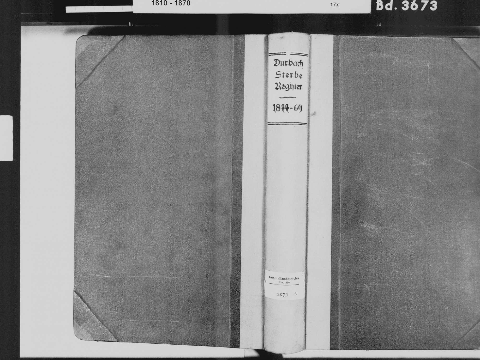 Durbach OG; Katholische Gemeinde: Sterbebuch 1844-1869, Bild 2