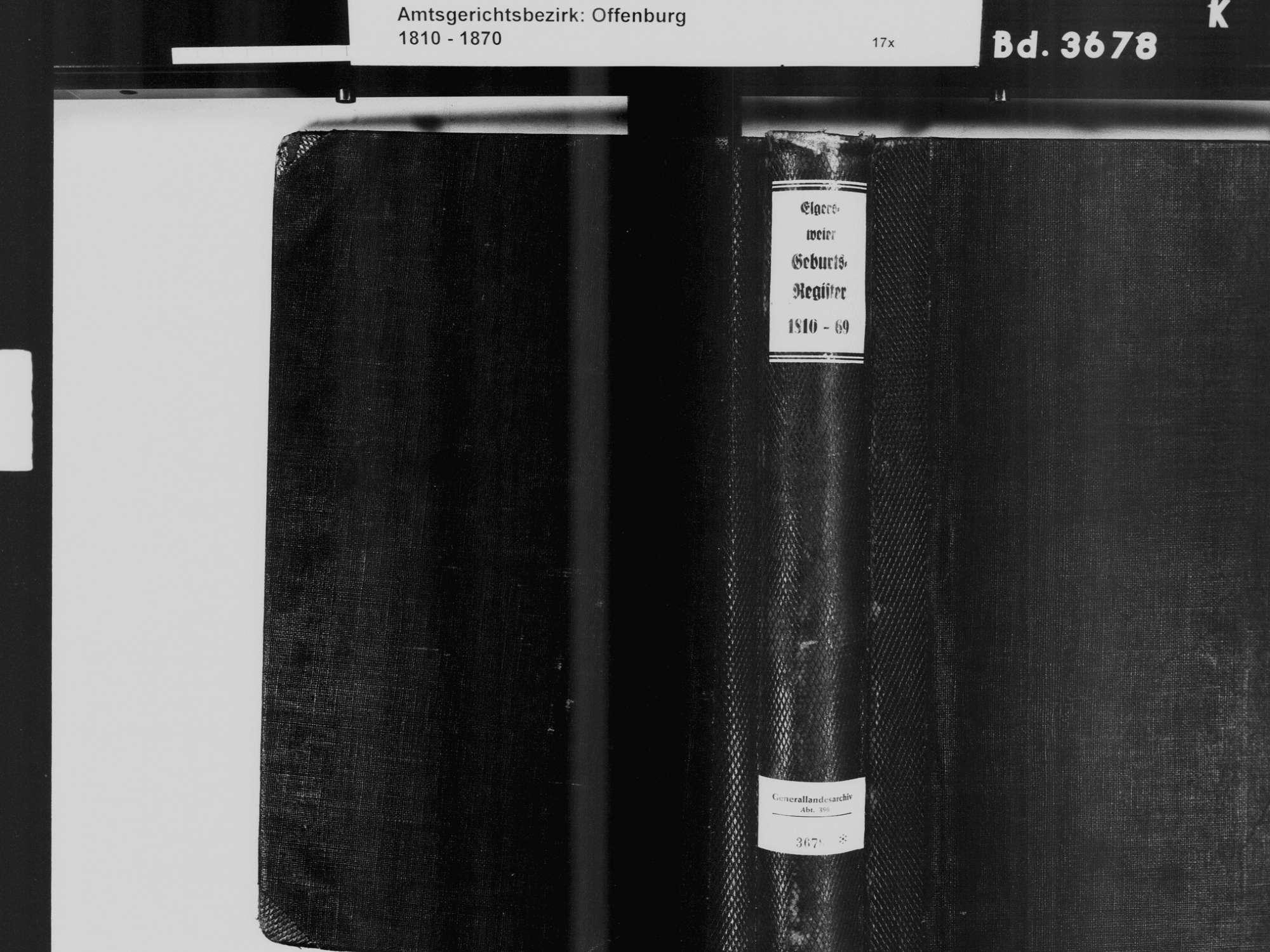Elgersweier, Offenburg OG; Katholische Gemeinde: Geburtenbuch 1810-1869, Bild 2