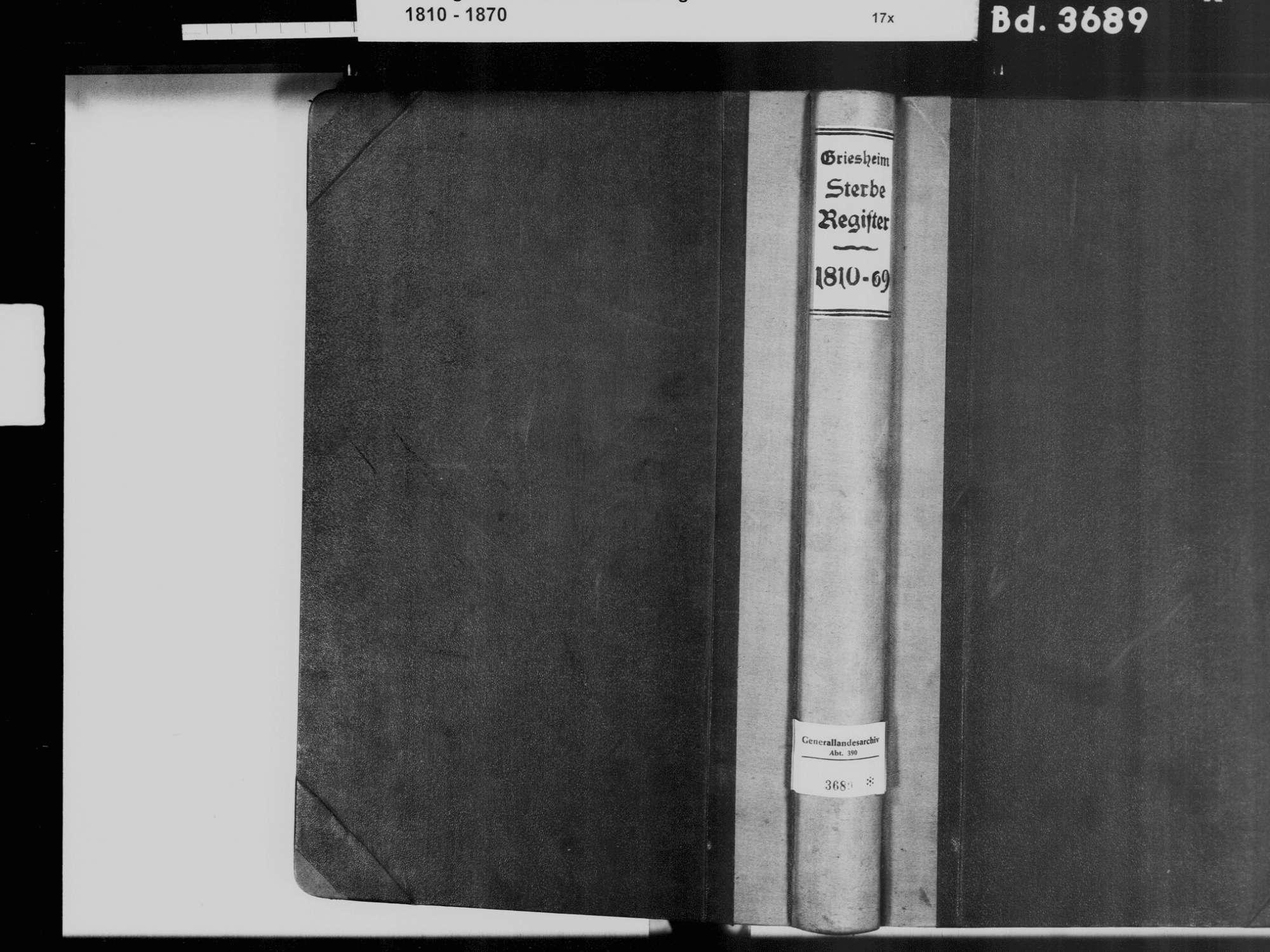 Griesheim, Offenburg OG; Katholische Gemeinde: Sterbebuch 1810-1869, Bild 2