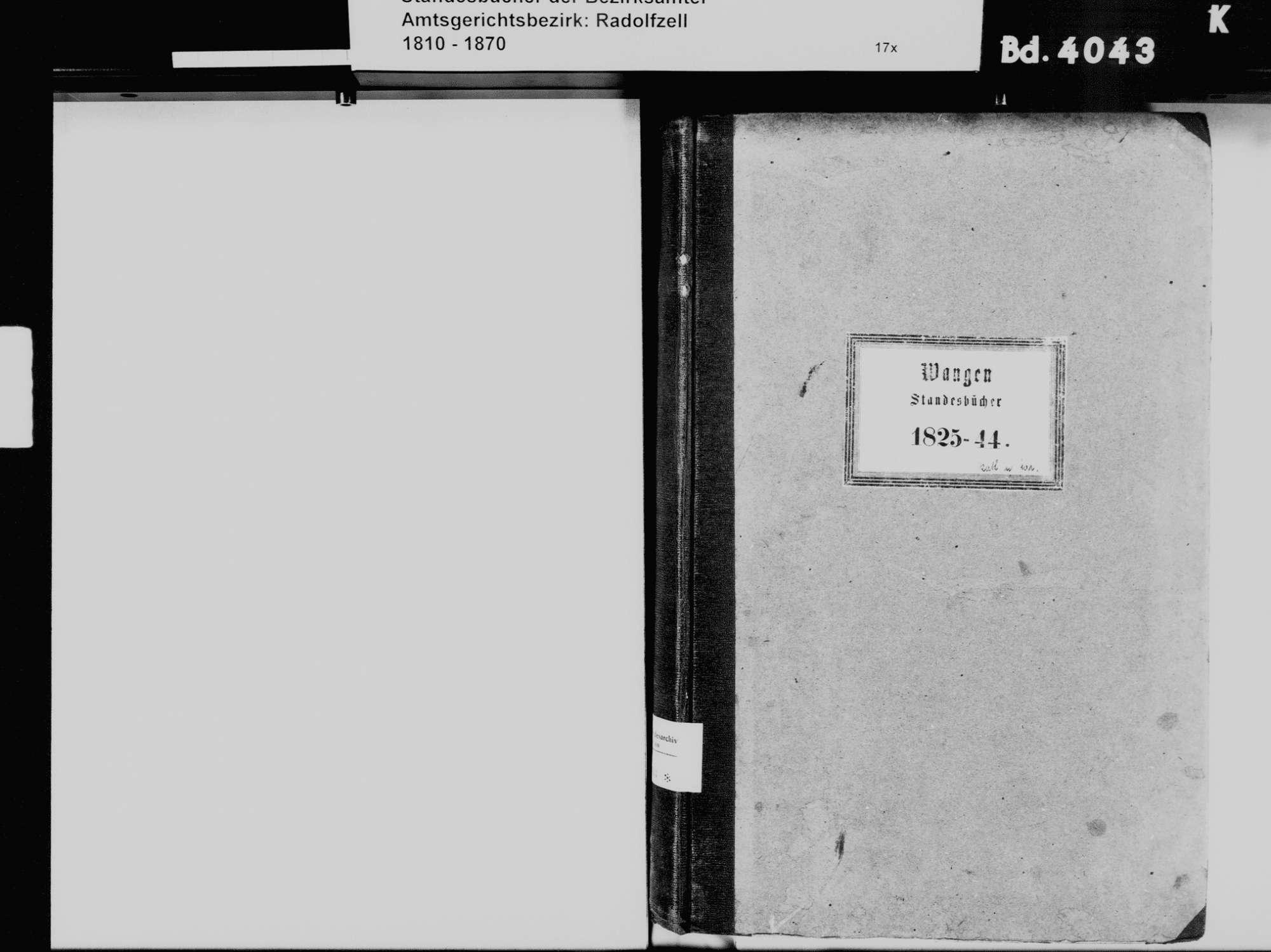 Wangen, Öhningen KN; Katholische Gemeinde: Standesbuch 1825-1844 Wangen, Öhningen KN; Evangelische Gemeinde: Standesbuch 1825-1844, Bild 3