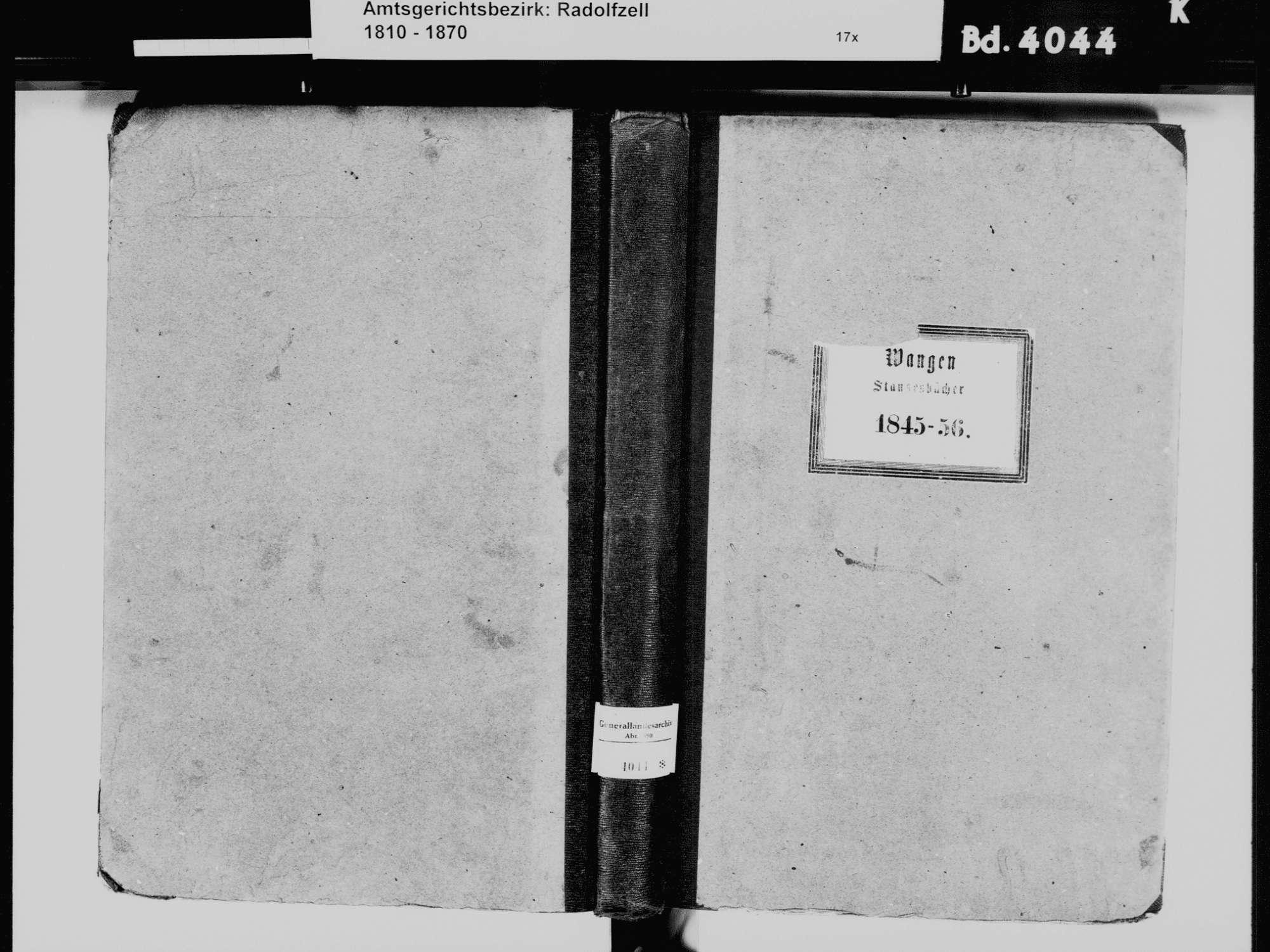 Wangen, Öhningen KN; Katholische Gemeinde: Standesbuch 1845-1856 Wangen, Öhningen KN; Evangelische Gemeinde: Standesbuch 1845-1856, Bild 2