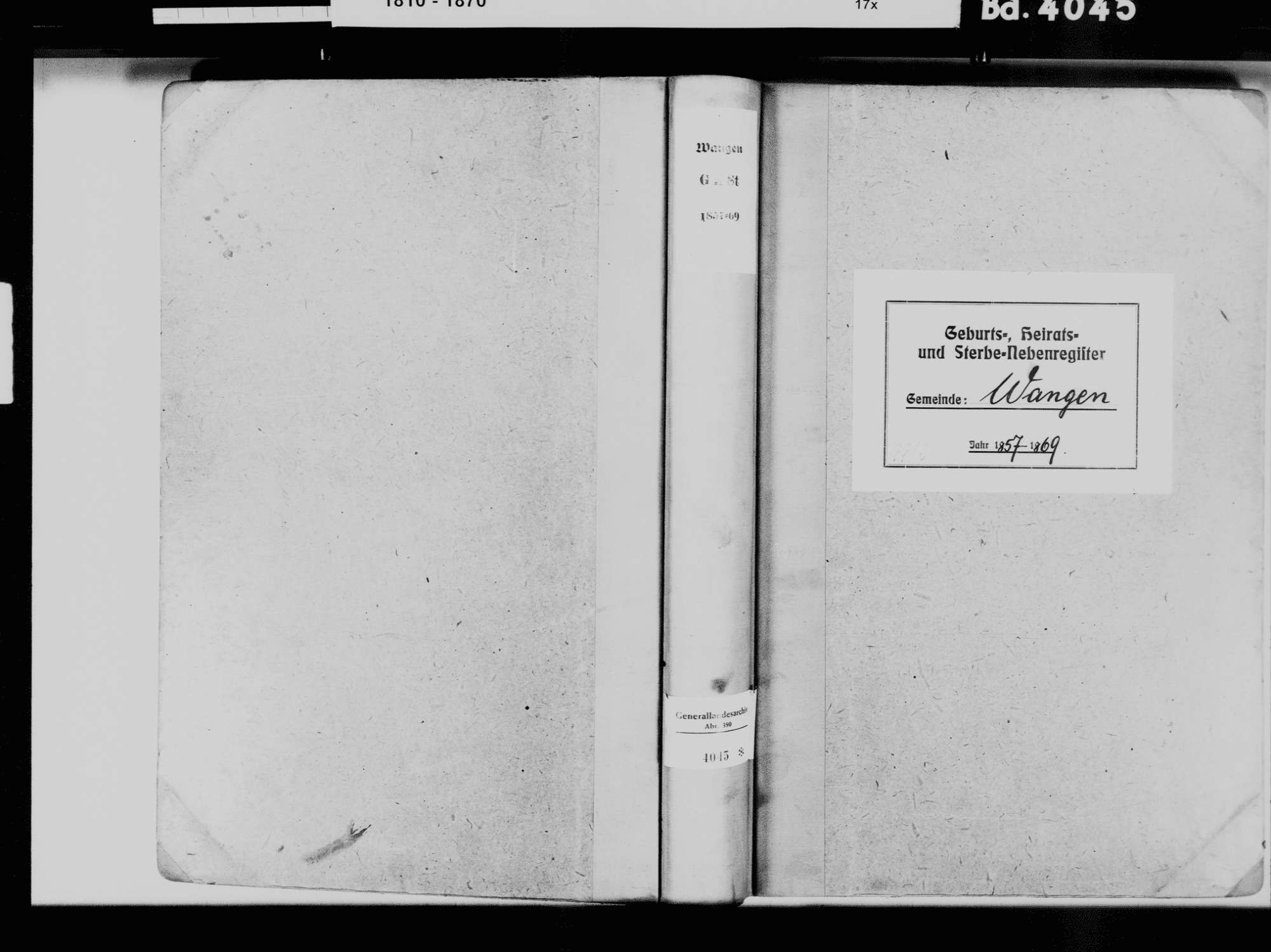 Wangen, Öhningen KN; Katholische Gemeinde: Standesbuch 1857-1869 Wangen, Öhningen KN; Evangelische Gemeinde: Standesbuch 1857-1869, Bild 2