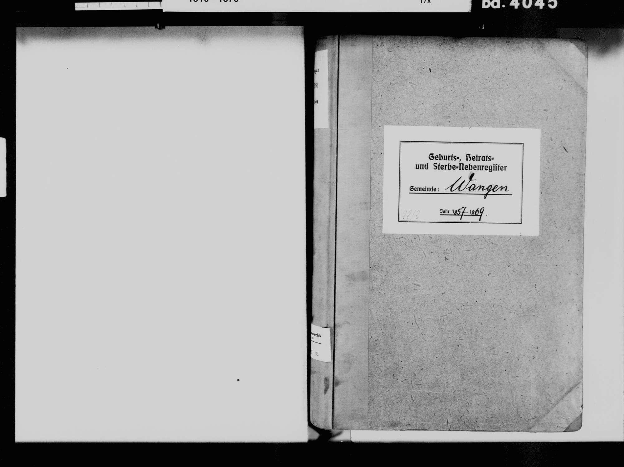 Wangen, Öhningen KN; Katholische Gemeinde: Standesbuch 1857-1869 Wangen, Öhningen KN; Evangelische Gemeinde: Standesbuch 1857-1869, Bild 3