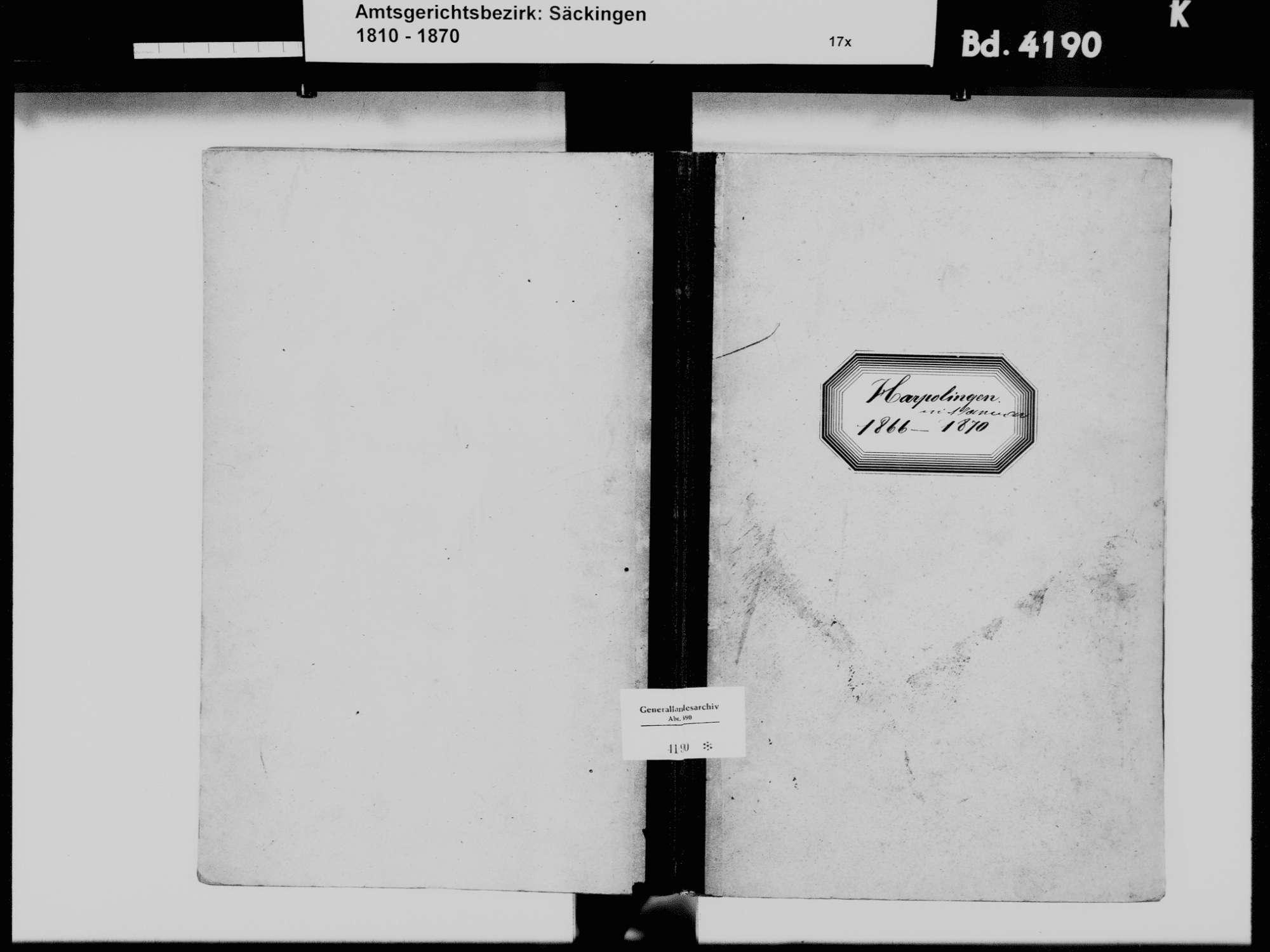 Harpolingen, Bad Säckingen WT; Katholische Gemeinde: Geburtenbuch 1866-1870, Bild 2