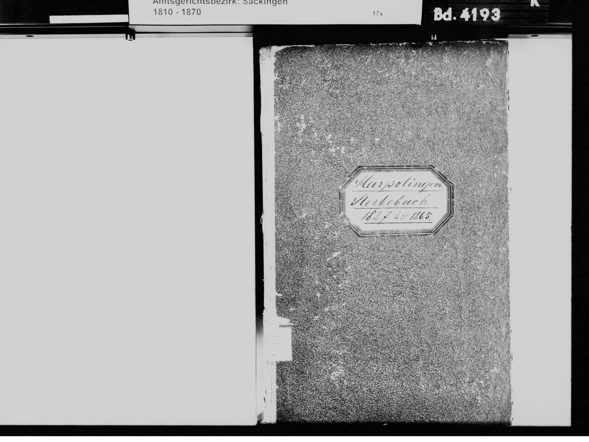 Harpolingen, Bad Säckingen WT; Katholische Gemeinde: Sterbebuch 1827-1865, Bild 3