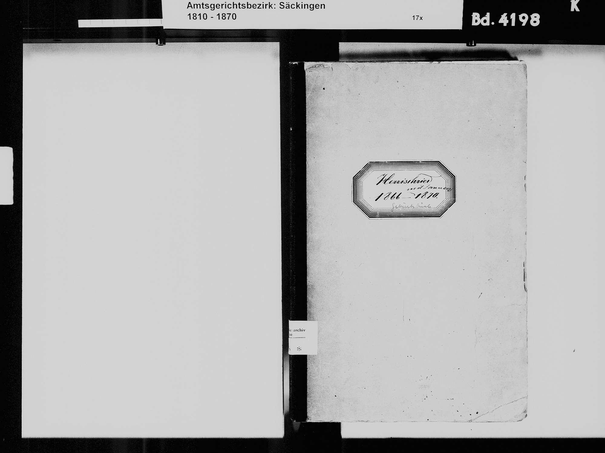 Herrischried WT; Katholische Gemeinde: Geburtenbuch 1866-1870, Bild 3